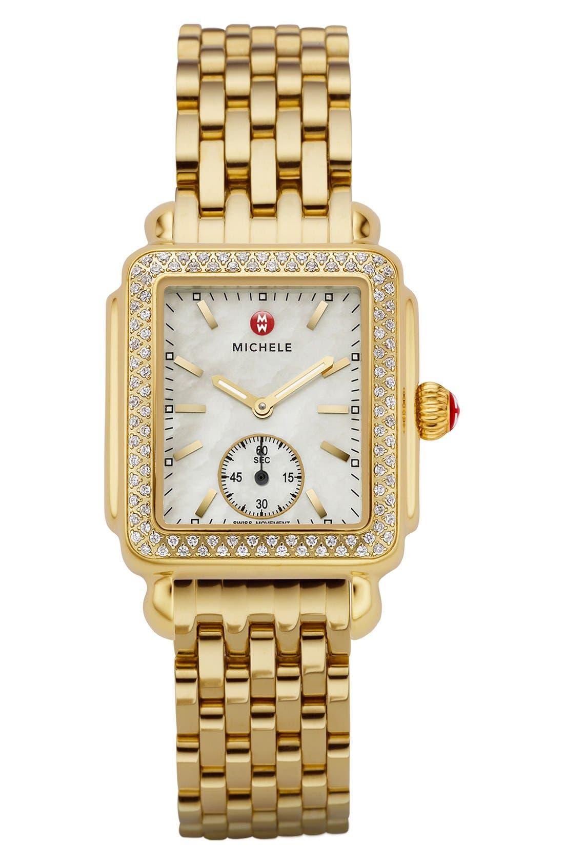 Alternate Image 2  - MICHELE Deco 16 Diamond Gold Plated Watch Head, 29mm x 31mm