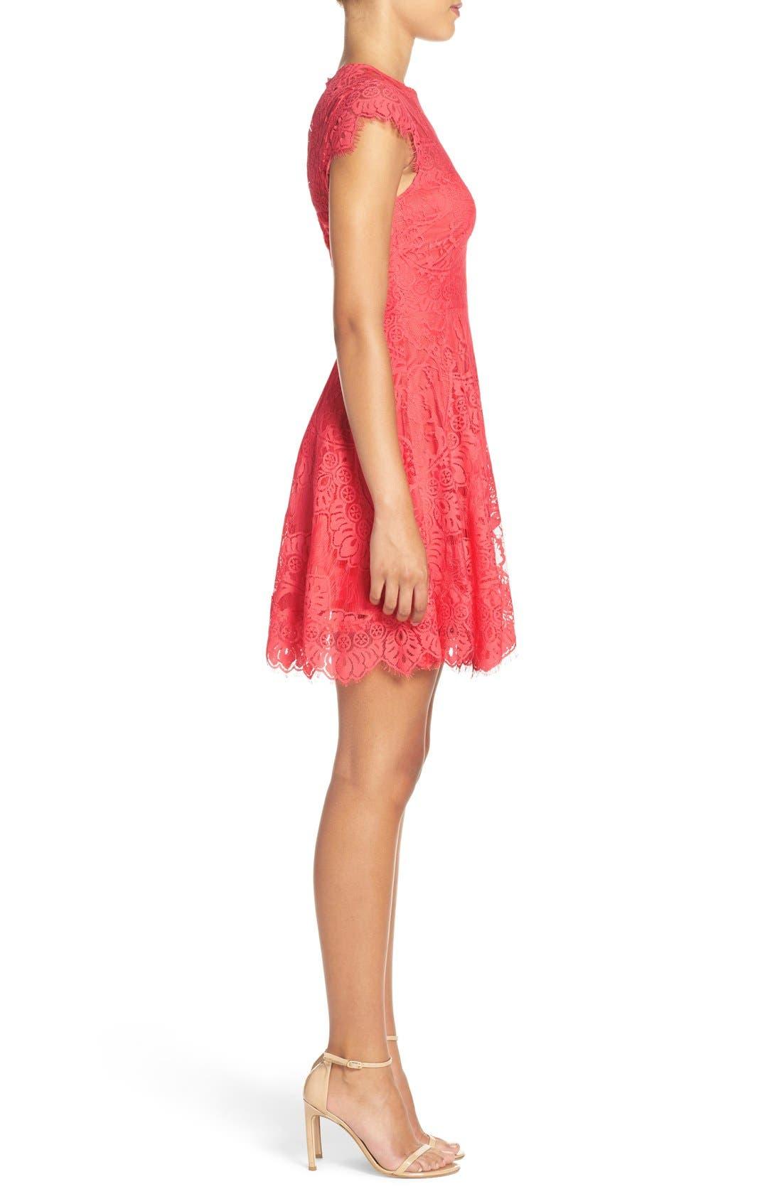 Alternate Image 3  - BB Dakota 'Rhianna' Illusion Yoke Lace Fit & Flare Dress (Nordstrom Exclusive)