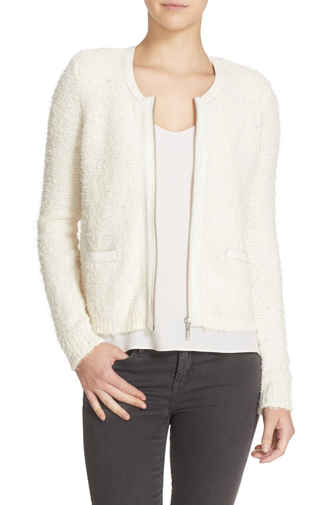 Main Image - Joie 'Jacolyn B' Leather Trim Cardigan