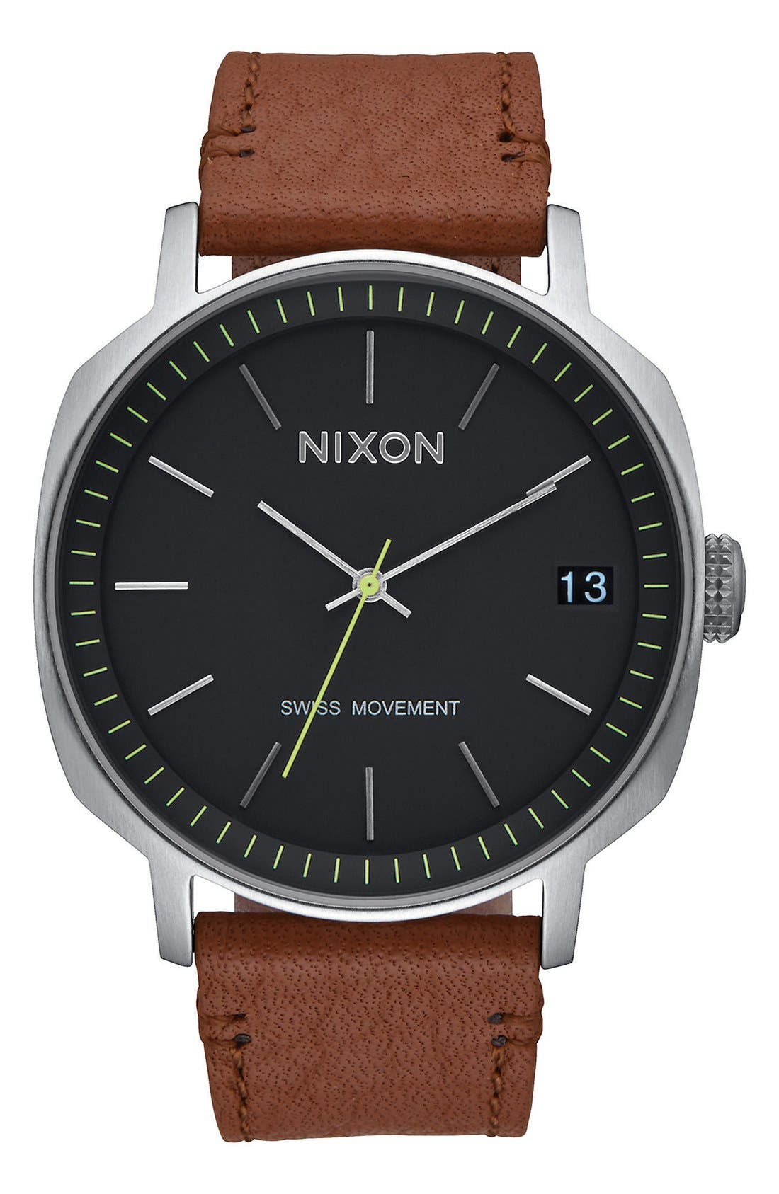 Nixon 'The Regent' Leather Strap Watch, 42mm
