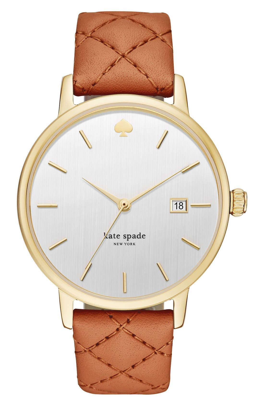 Main Image - kate spade new york 'metro grand' quilted strap watch, 38mm