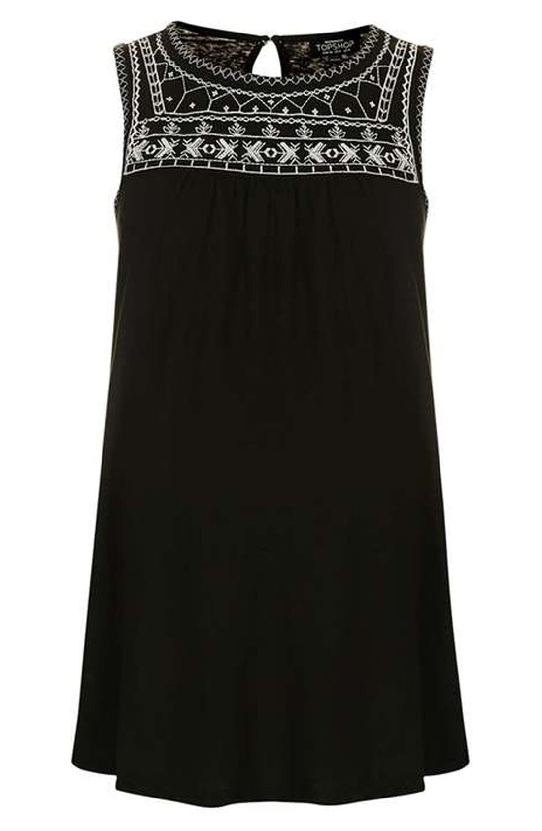 Alternate Image 4  - Topshop Sleeveless Embroidered Smocked Maternity Top