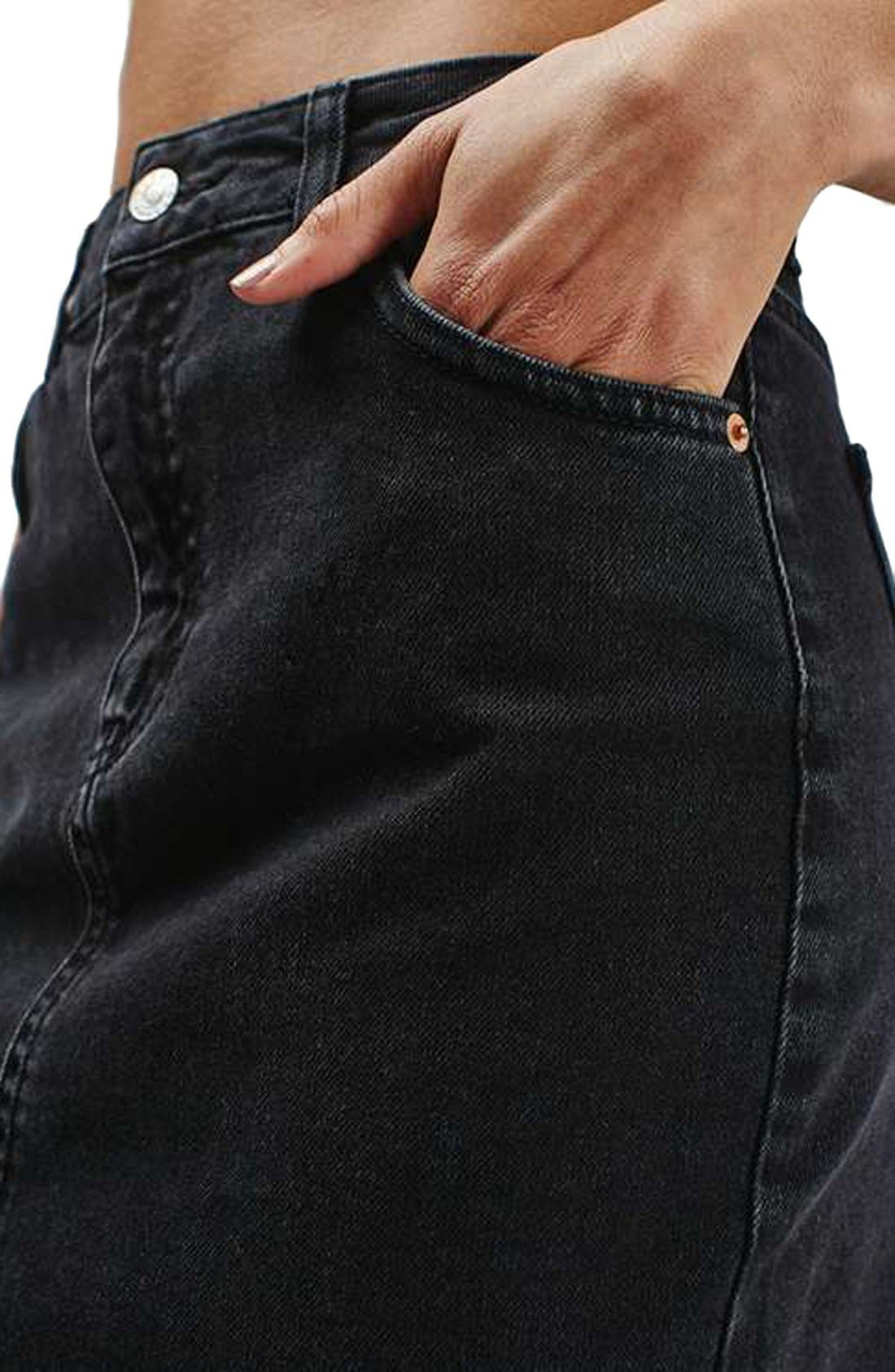 Alternate Image 5  - Topshop Moto High Rise Raw Hem Denim Skirt