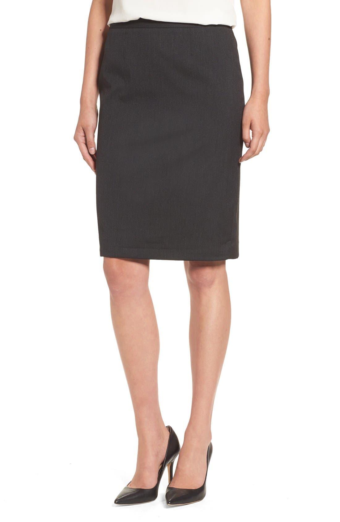 Alternate Image 1 Selected - Halogen® Mini Stripe Stretch Suit Skirt (Regular & Petite)