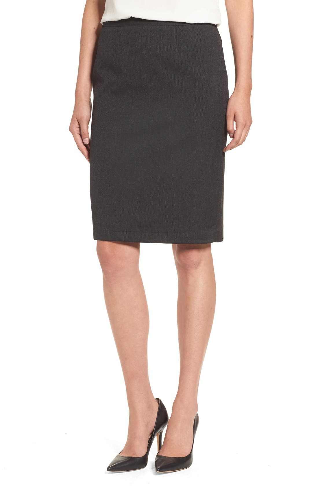 Main Image - Halogen® Mini Stripe Stretch Suit Skirt (Regular & Petite)