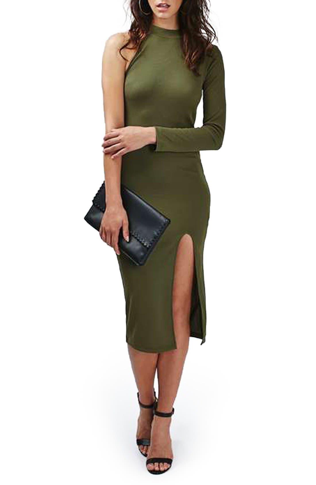 Main Image - Topshop One Sleeve Ribbed Midi Dress