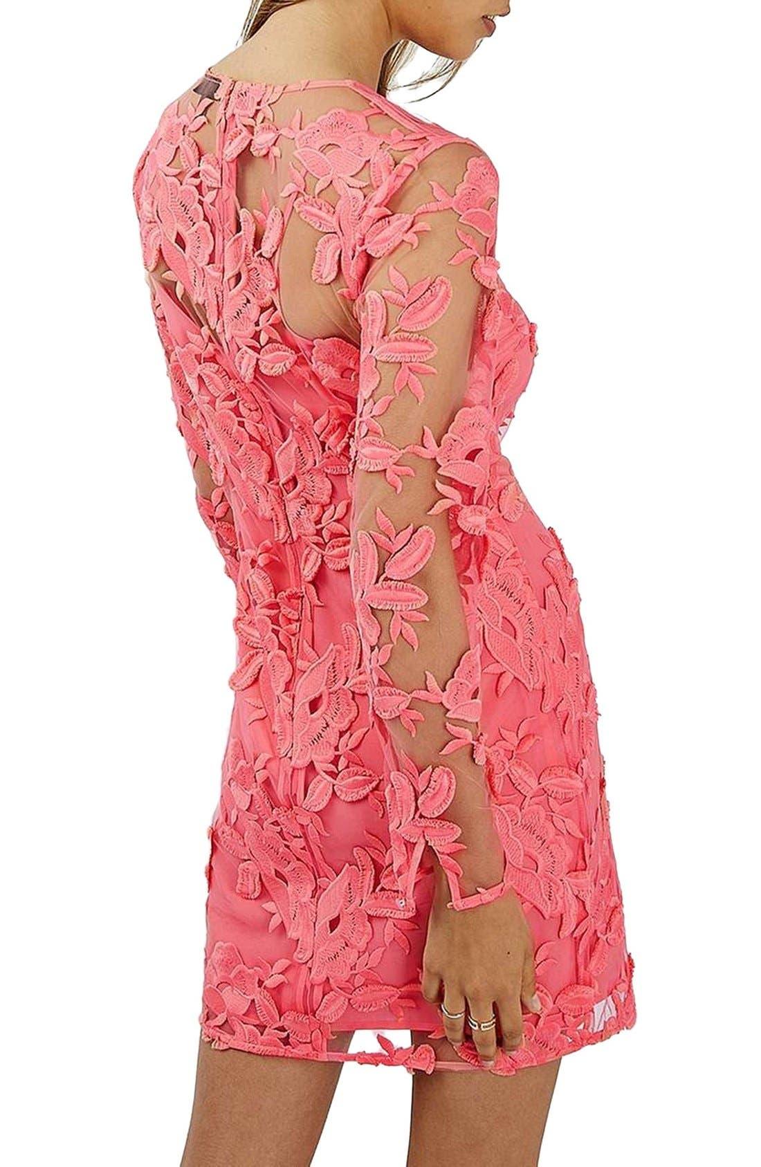 Alternate Image 2  - Topshop Lace Appliqué Long Sleeve Minidress