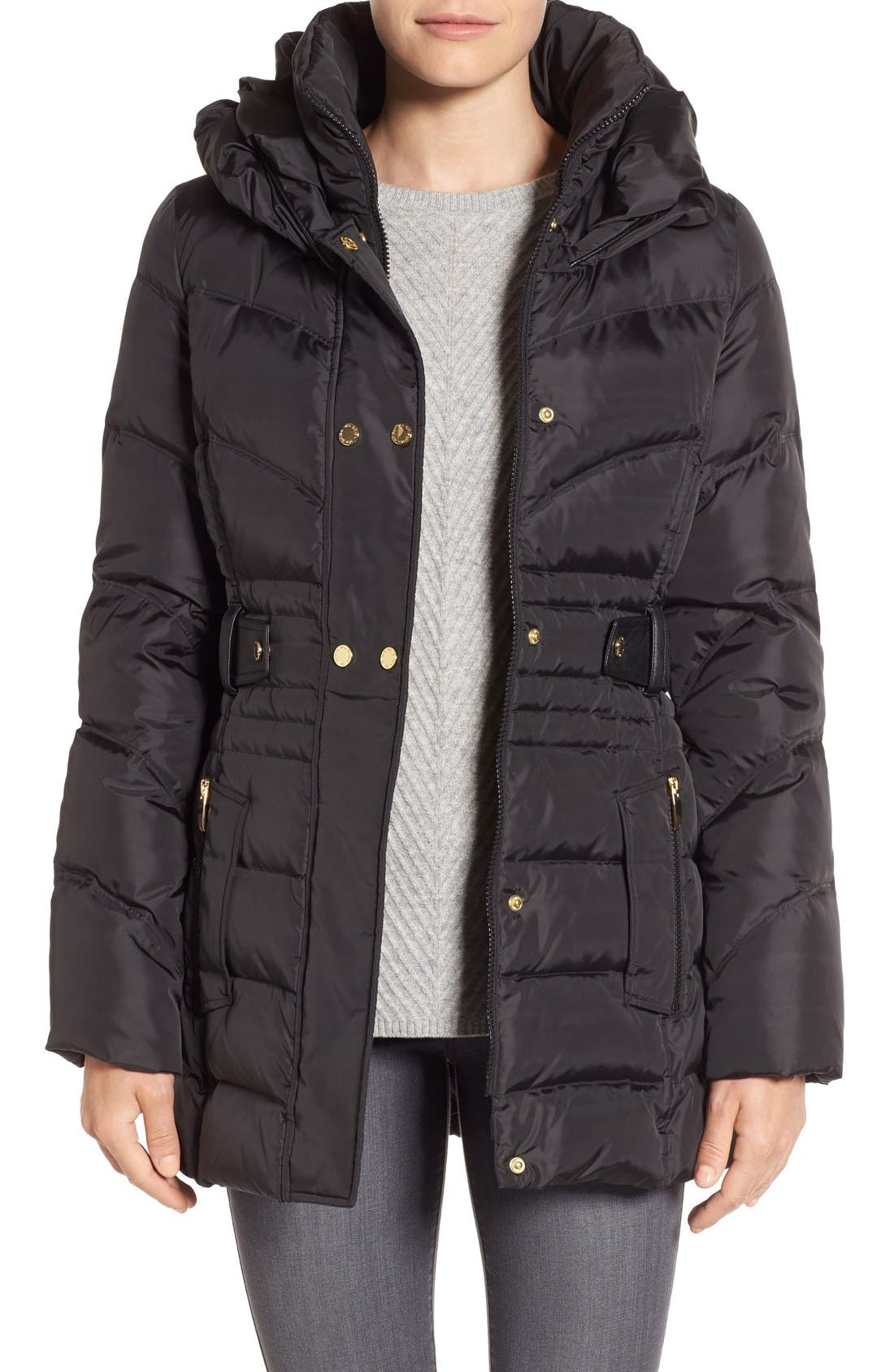Main Image - Via Spiga Snap Detail Pillow Collar Puffer Coat