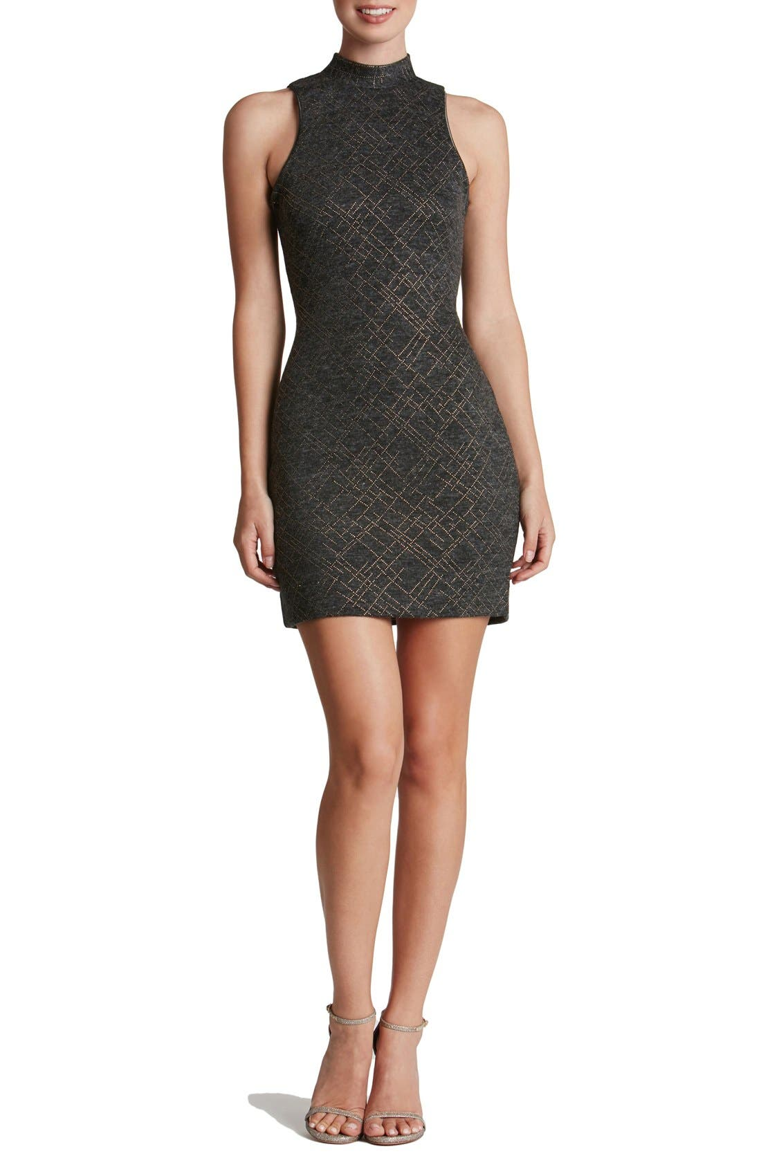 DRESS THE POPULATION 'Lisa' Mock Neck Embellished Body-Con