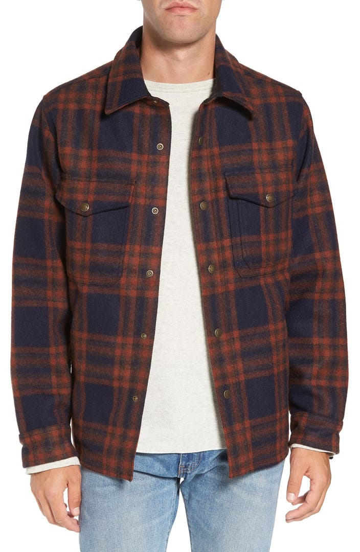 Filson 39 macinaw 39 plaid wool flannel shirt jacket nordstrom for Flannel shirt and vest