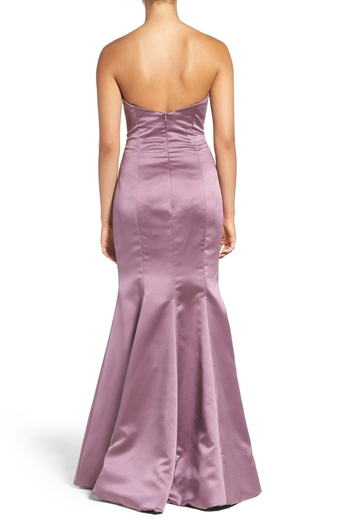 Alternate Image 2  - Hayley Paige Occasions Strapless Satin Trumpet Gown