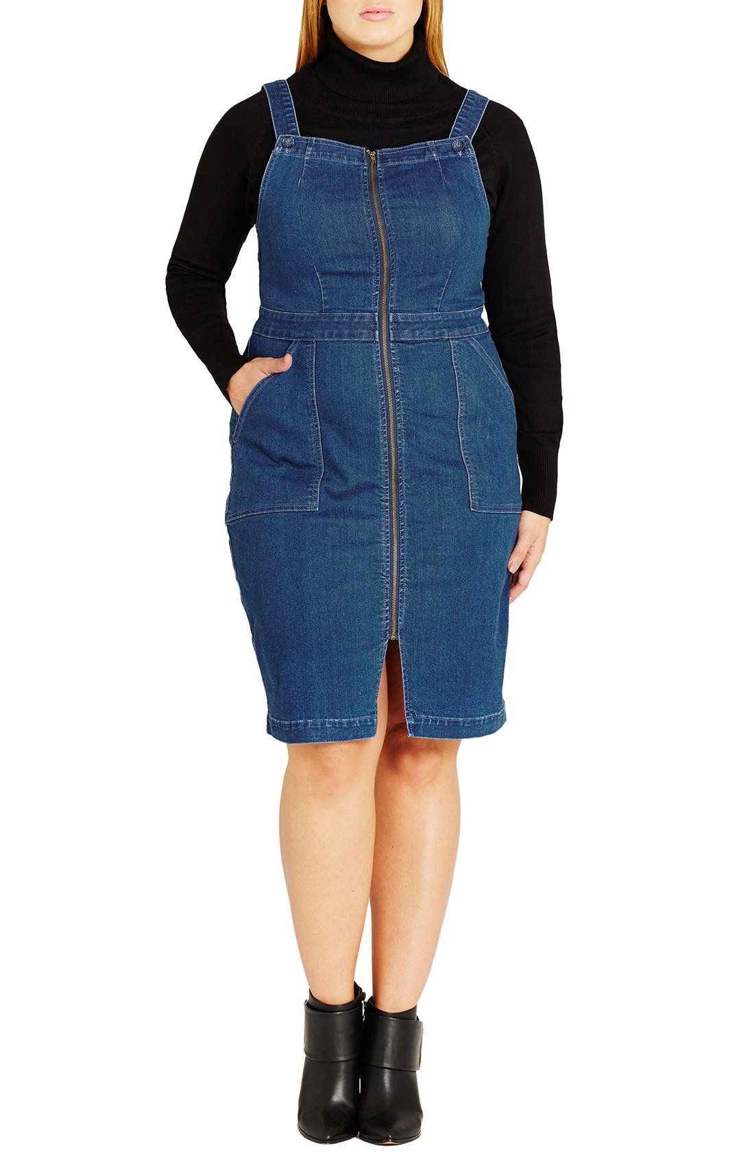 CITY CHIC Denim Front Zip Pinafore Dress
