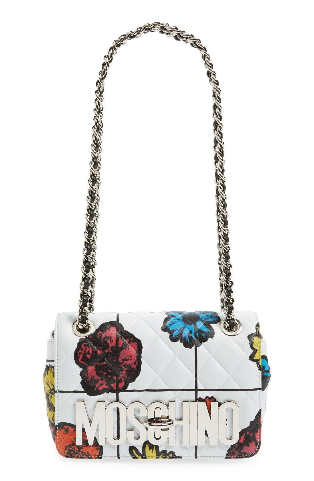 Alternate Image 1 Selected - Moschino 'Small Letters' Floral Quilted Shoulder Bag