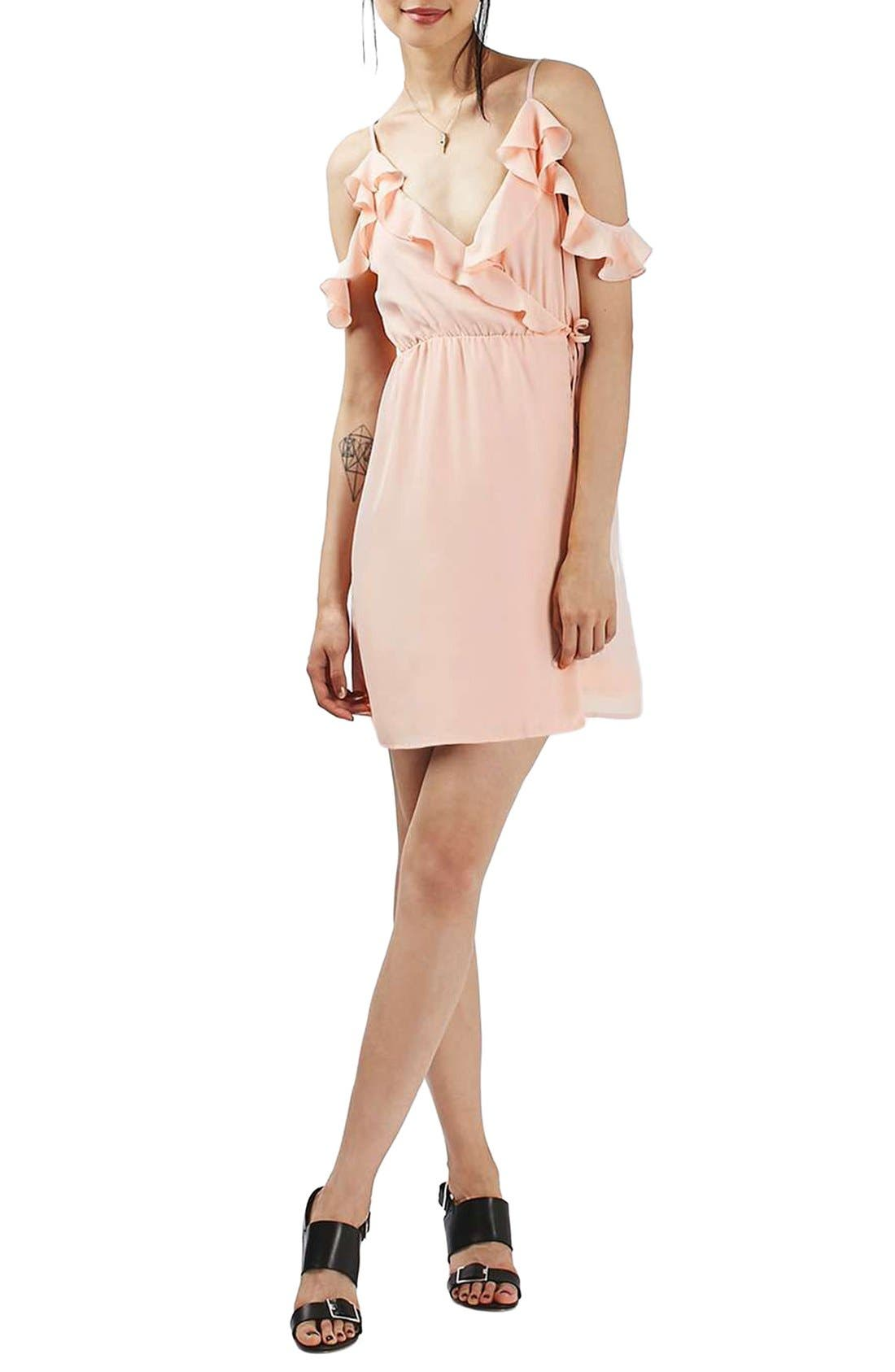 Main Image - Topshop Ruffle Cold Shoulder Wrap Minidress