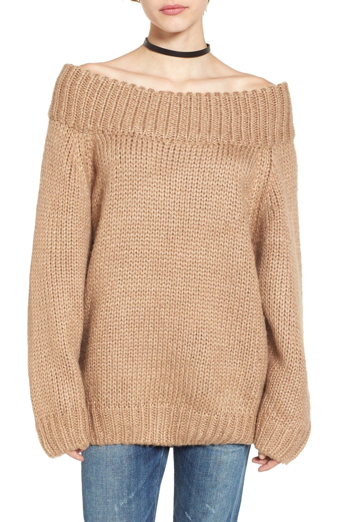 Alternate Image 1 Selected - Cotton Emporium Off the Shoulder Knit Pullover