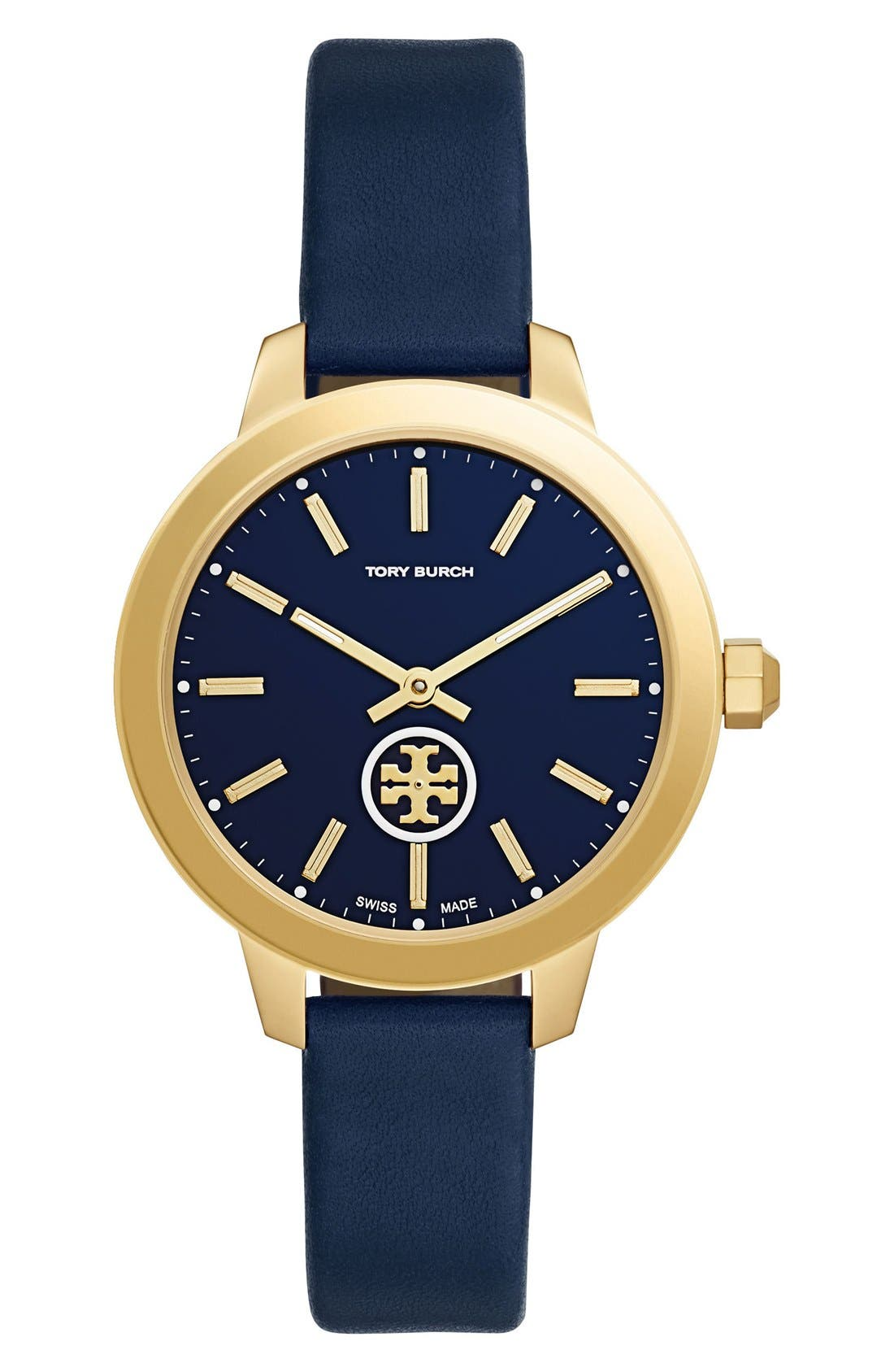 Main Image - Tory Burch 'The Collins' Leather Strap Watch, 38mm