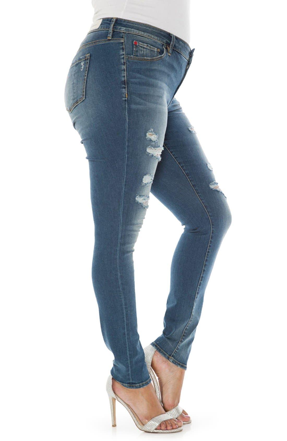 Alternate Image 3  - SLINK Jeans Ripped Stretch Skinny Jeans (Plus Size)