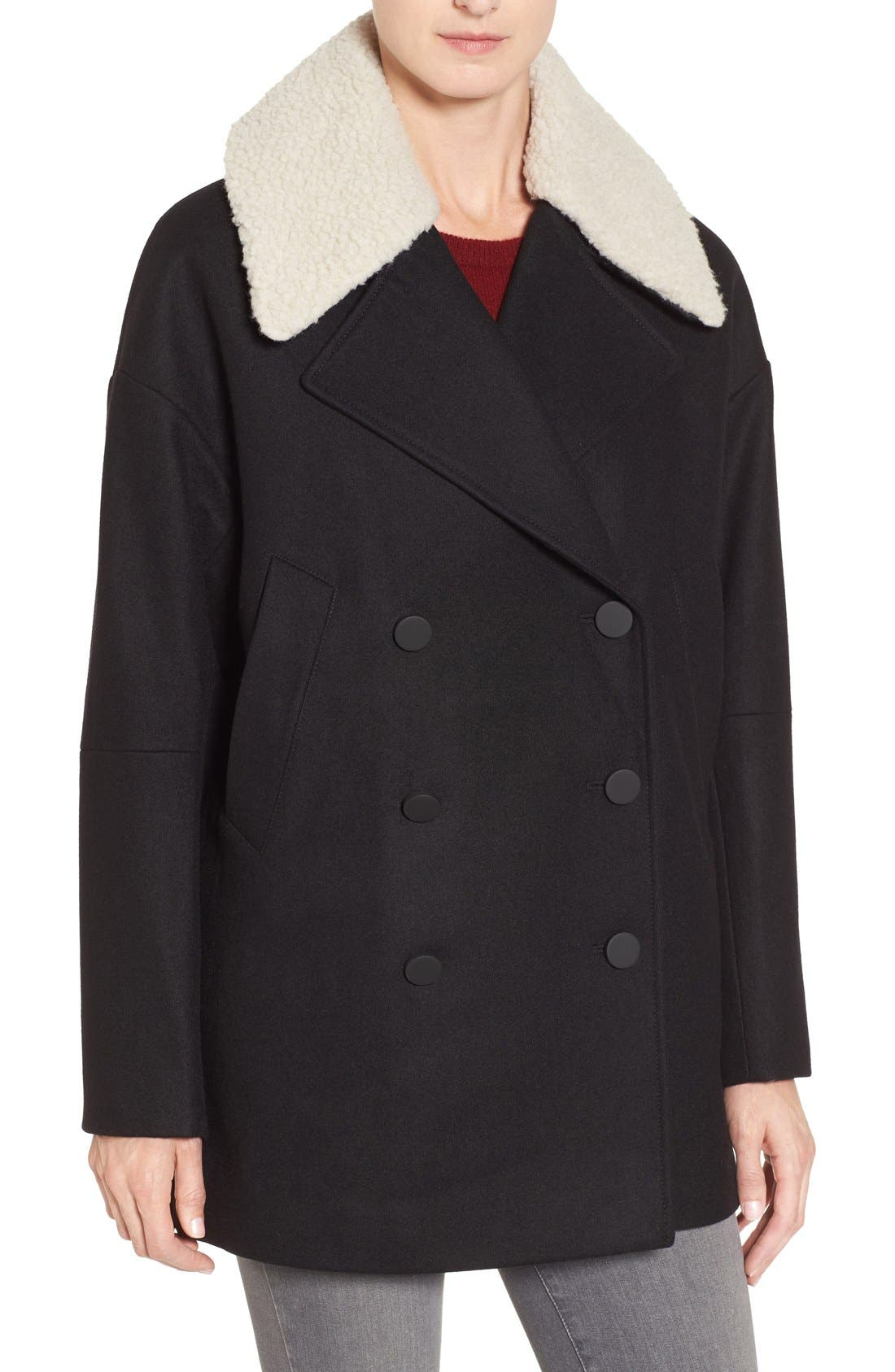 Main Image - Andrew Marc Cocoon Coat with Faux Shearling Collar