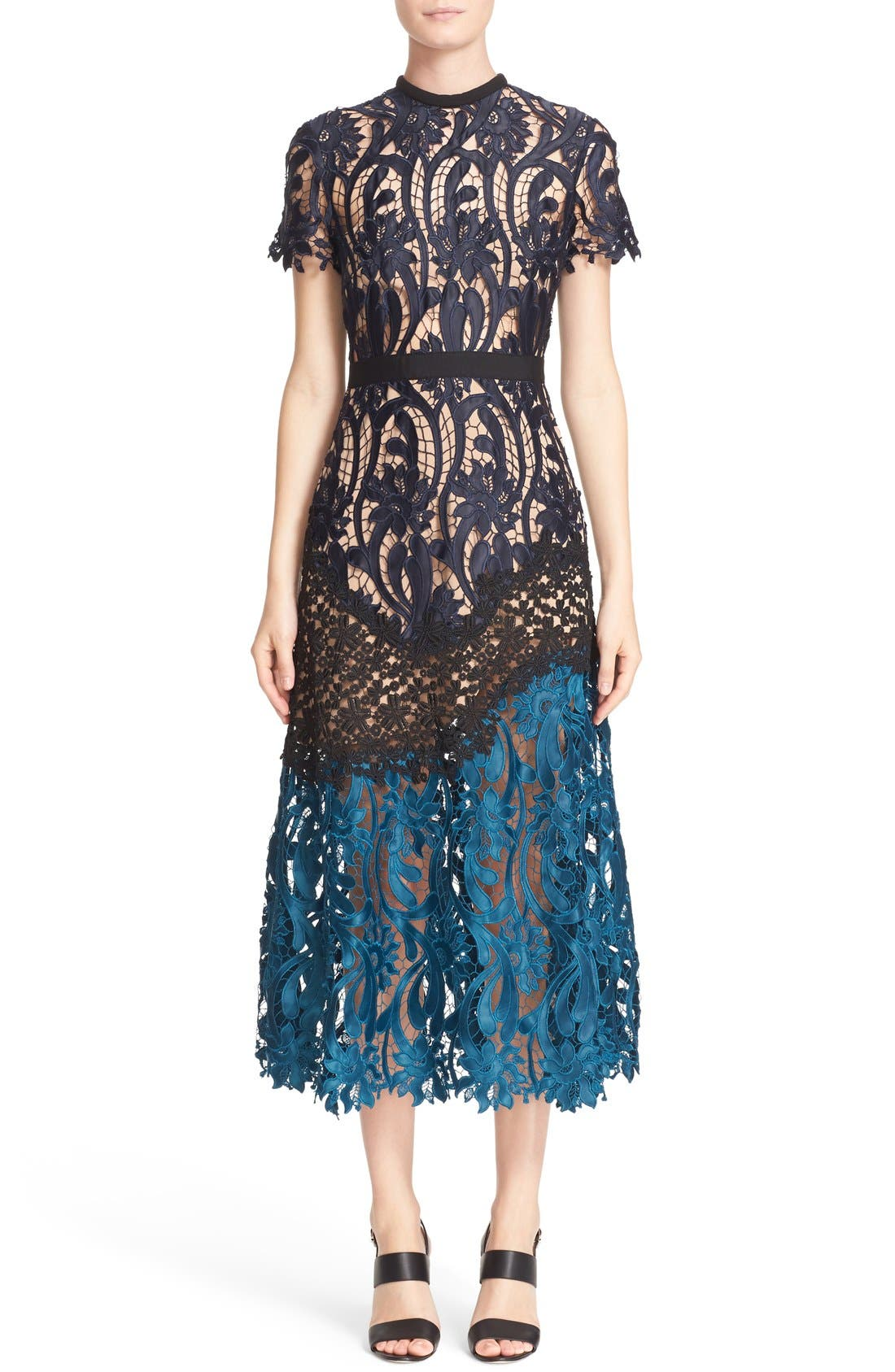Alternate Image 1 Selected - Self-Portrait 'Prairie' Mixed Lace Midi Dress