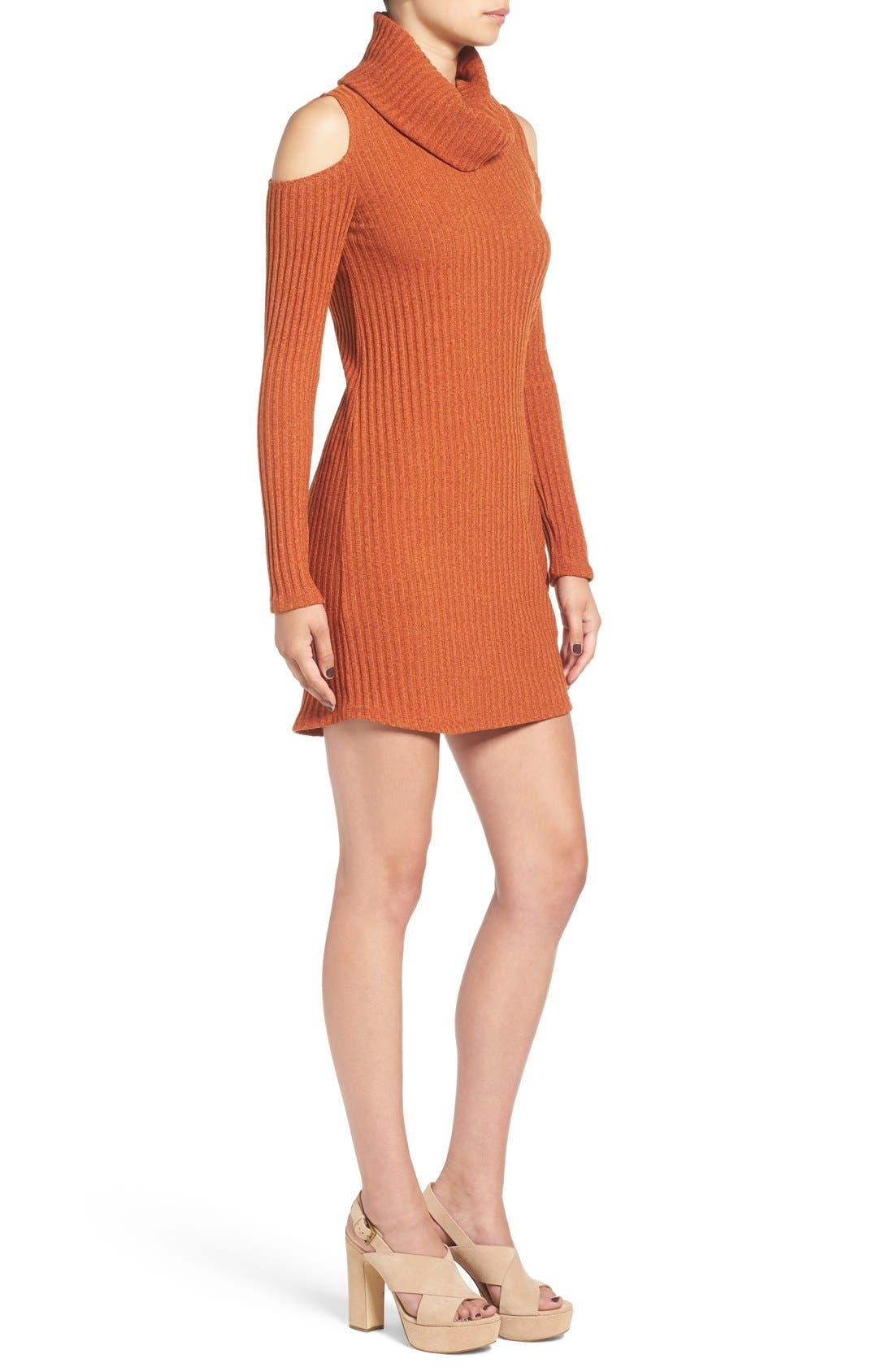 Alternate Image 4  - Socialite Cold Shoulder Rib Knit Dress