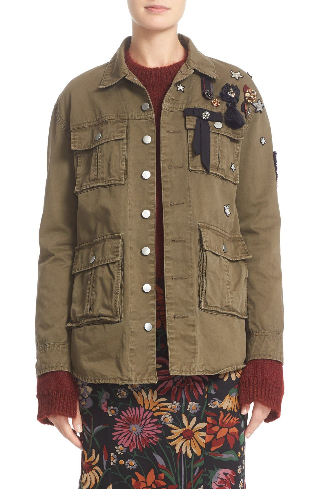 CINQ À SEPT Embellished Cotton Twill Military Jacket