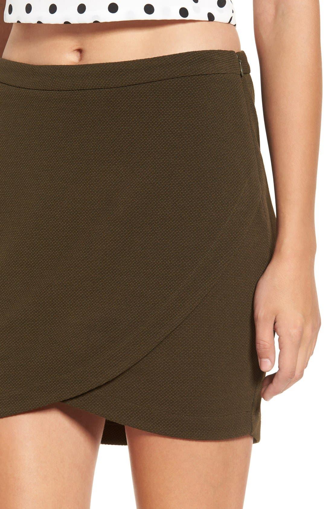 Alternate Image 5  - June & Hudson Piqué Wrap Front Miniskirt