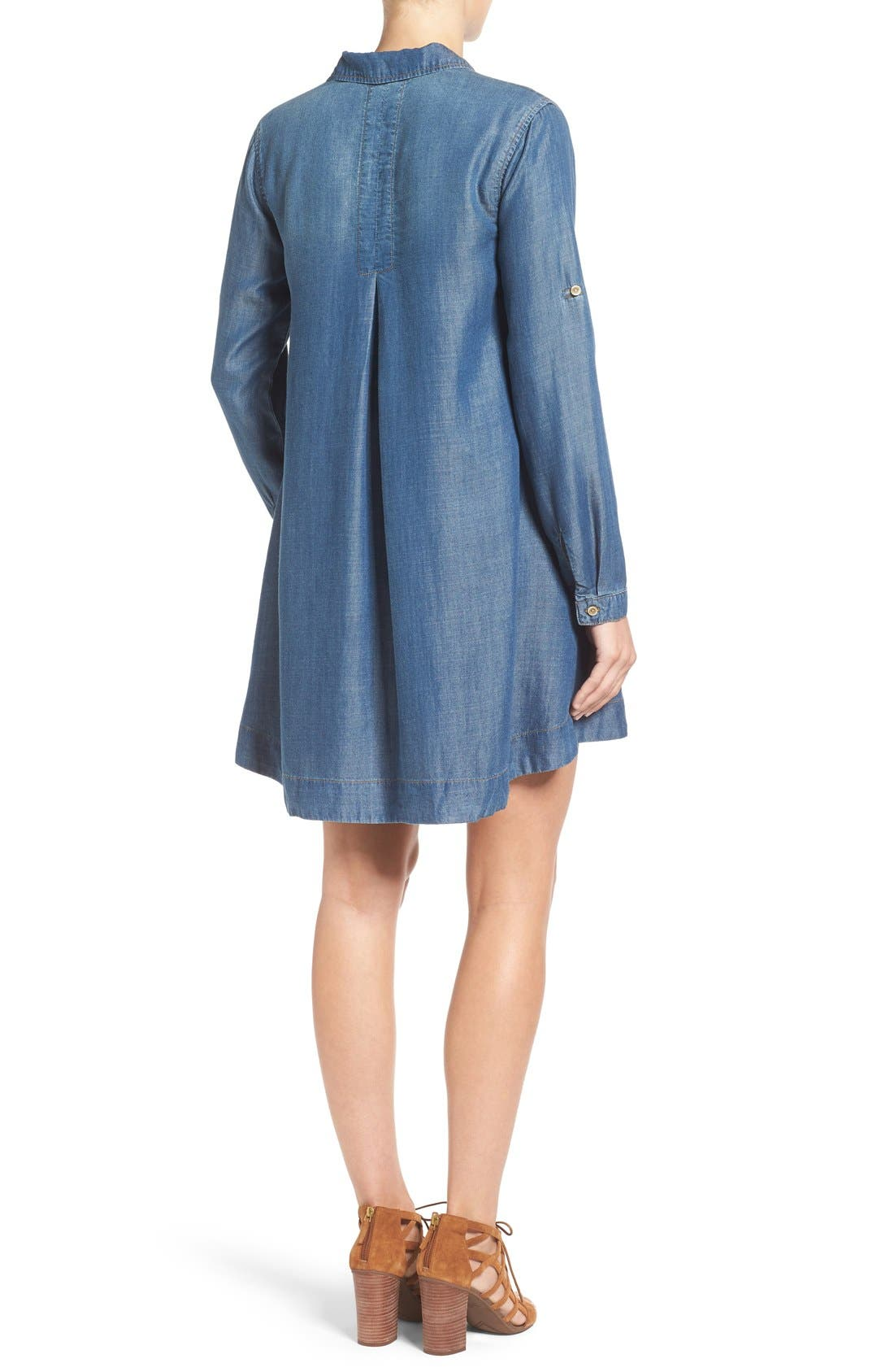 Alternate Image 2  - Side Stitch A-Line Denim Shirtdress