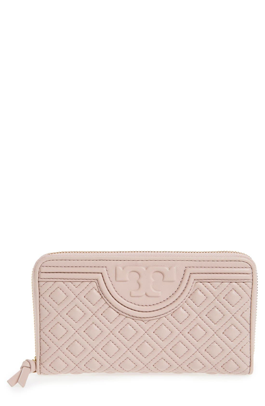 Alternate Image 1 Selected - Tory Burch 'Fleming' Quilted Lambskin Leather Continental Wallet