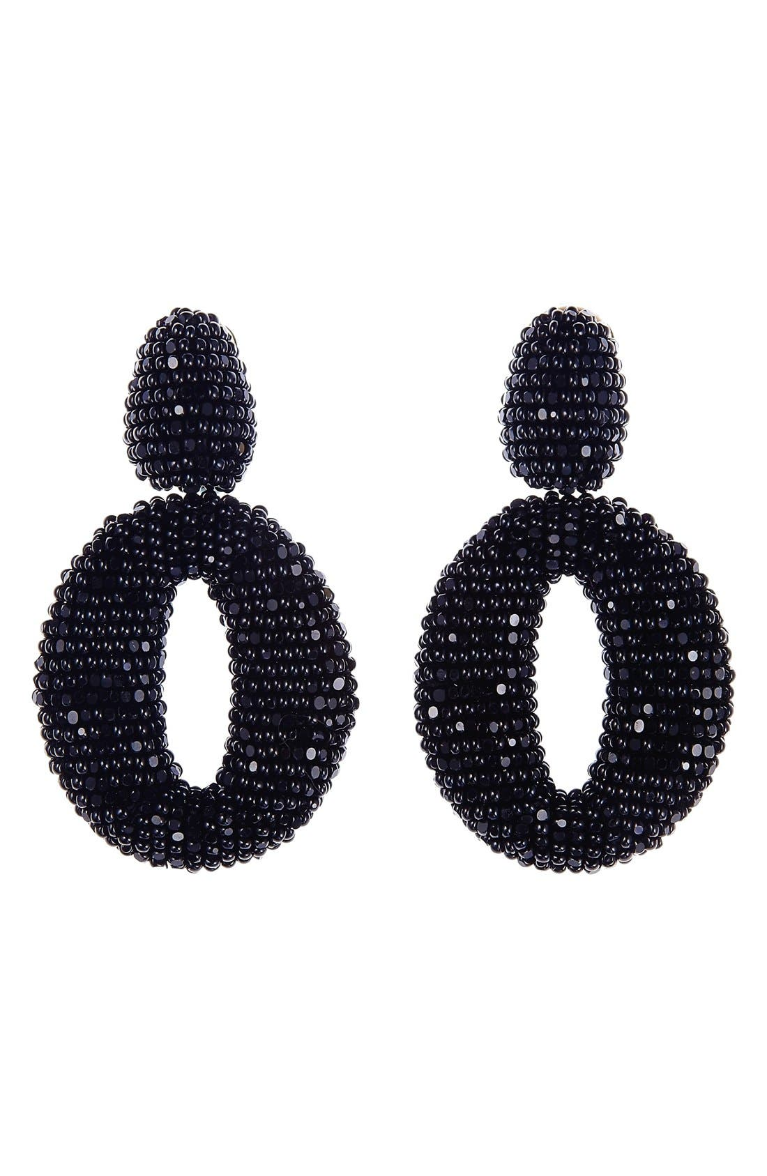 Main Image - Oscar de la Renta Beaded Frontal Hoop Clip Earrings