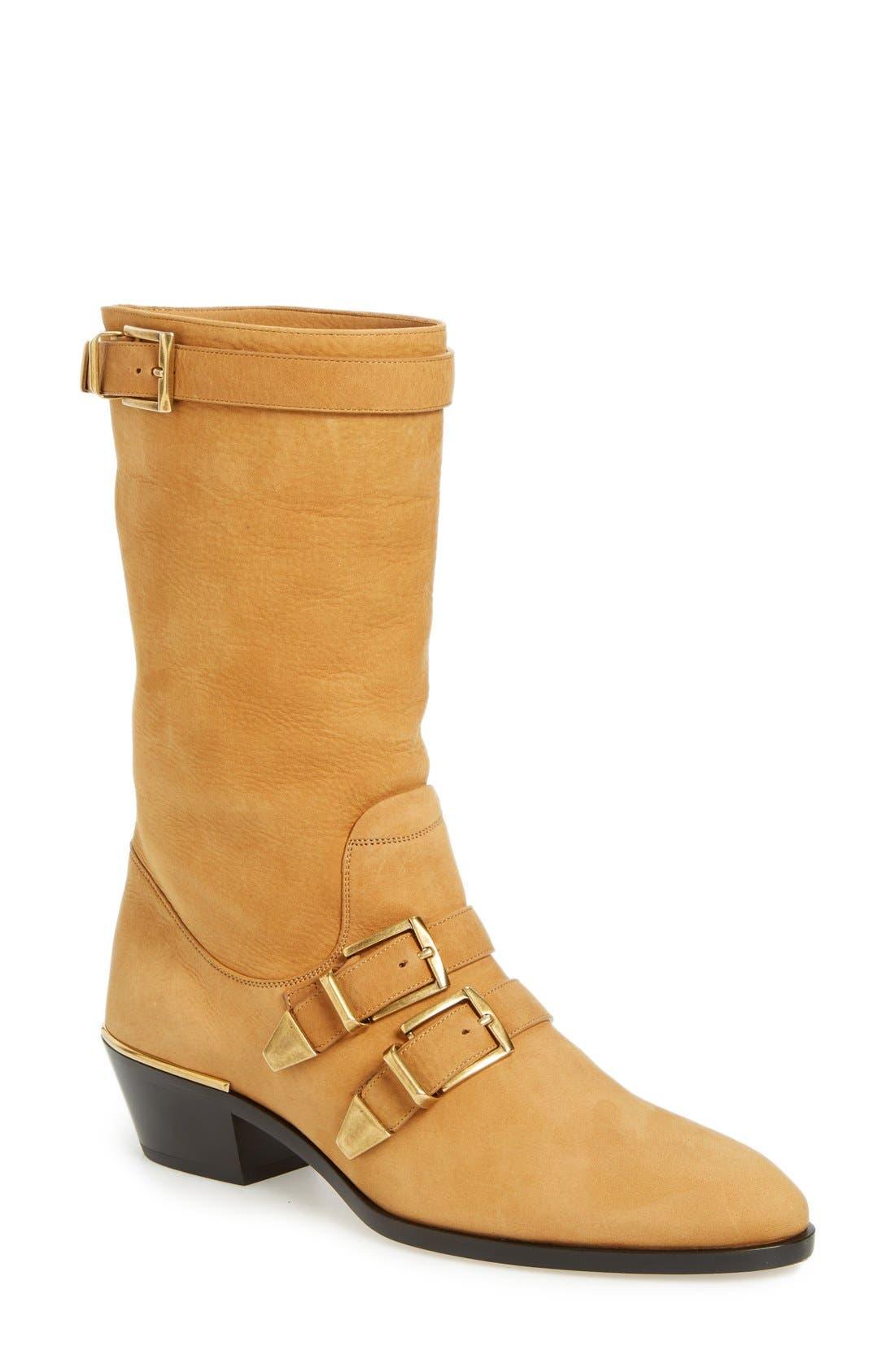 CHLOÉ 'Susanna' Buckle Strap Mid Calf Boot