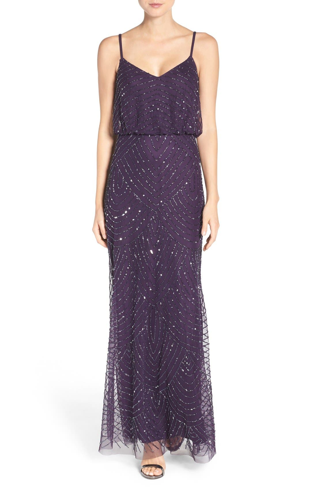 Adrianna Papell Embellished Blouson Gown (Regular & Petite)