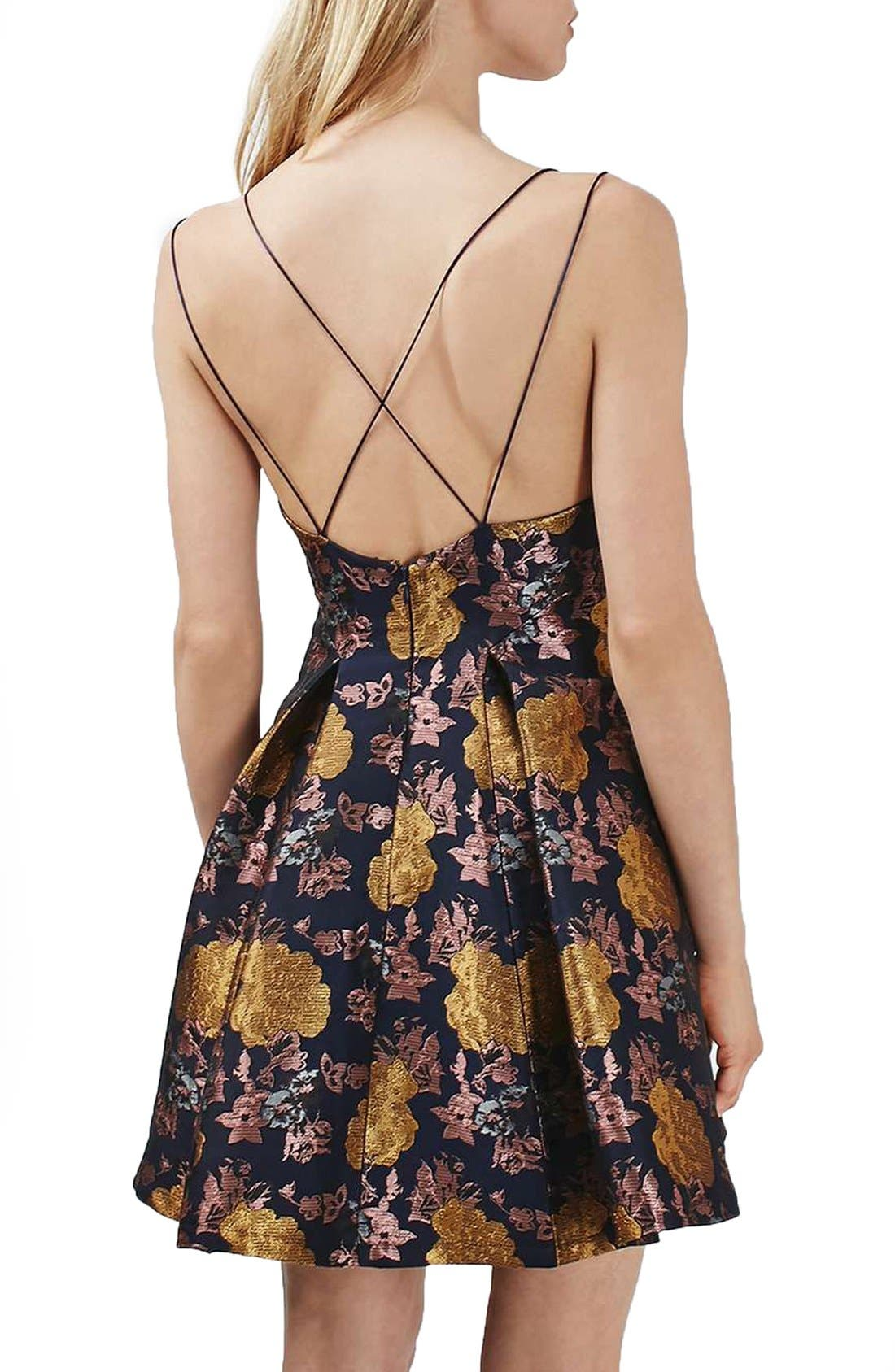 Alternate Image 2  - Topshop Floral Jacquard Plunge Minidress
