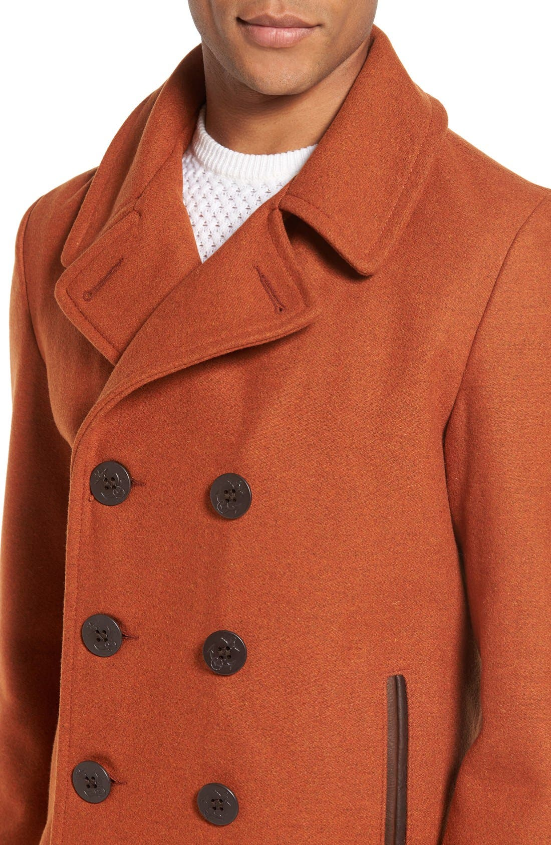 Alternate Image 4  - Schott NYC Slim Fit Wool Blend Peacoat