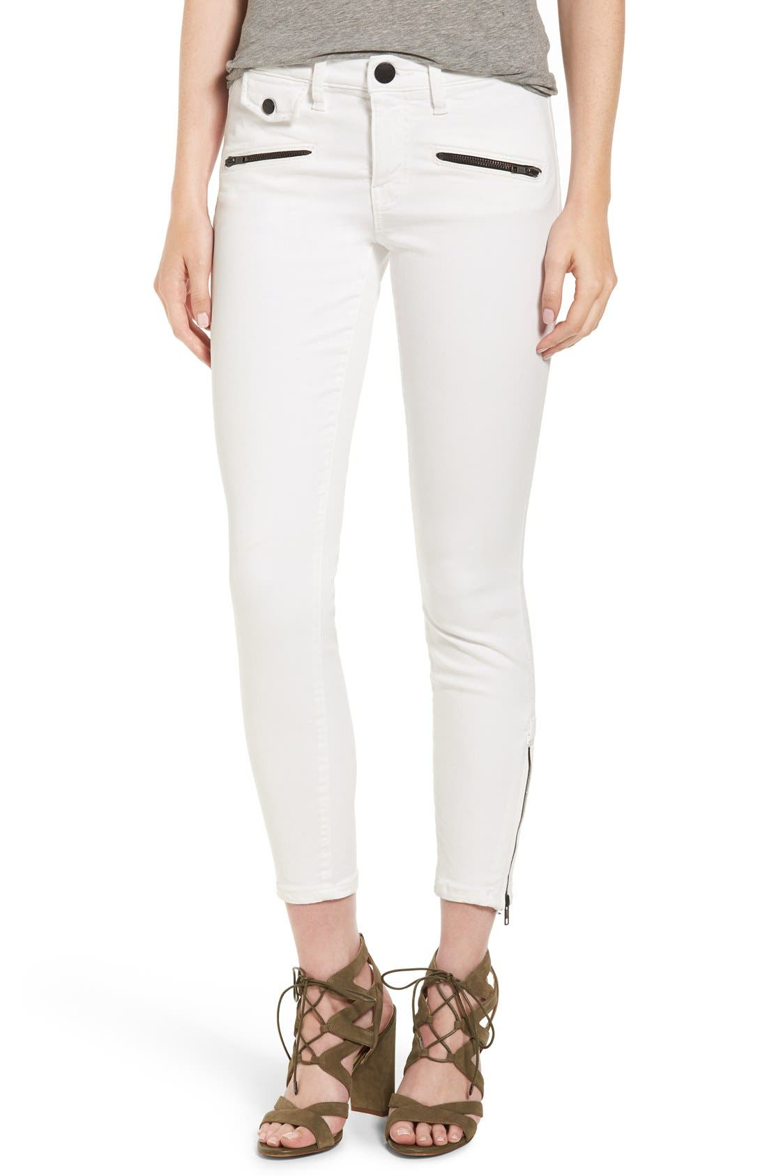 Alternate Image 1 Selected - Current/Elliott 'The Zip Moto' Ankle Skinny Jeans (Dirty White Noise)