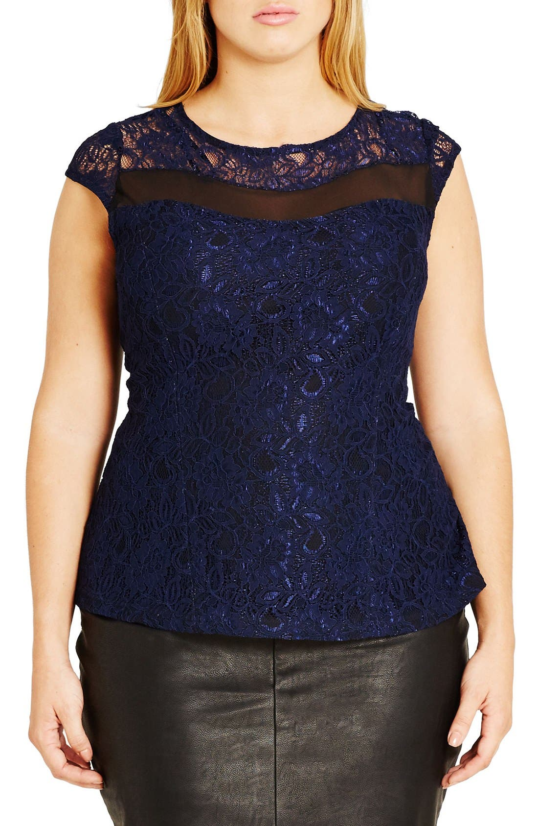 City Chic 'Mysterious' Cap Sleeve Lace Top (Plus Size)