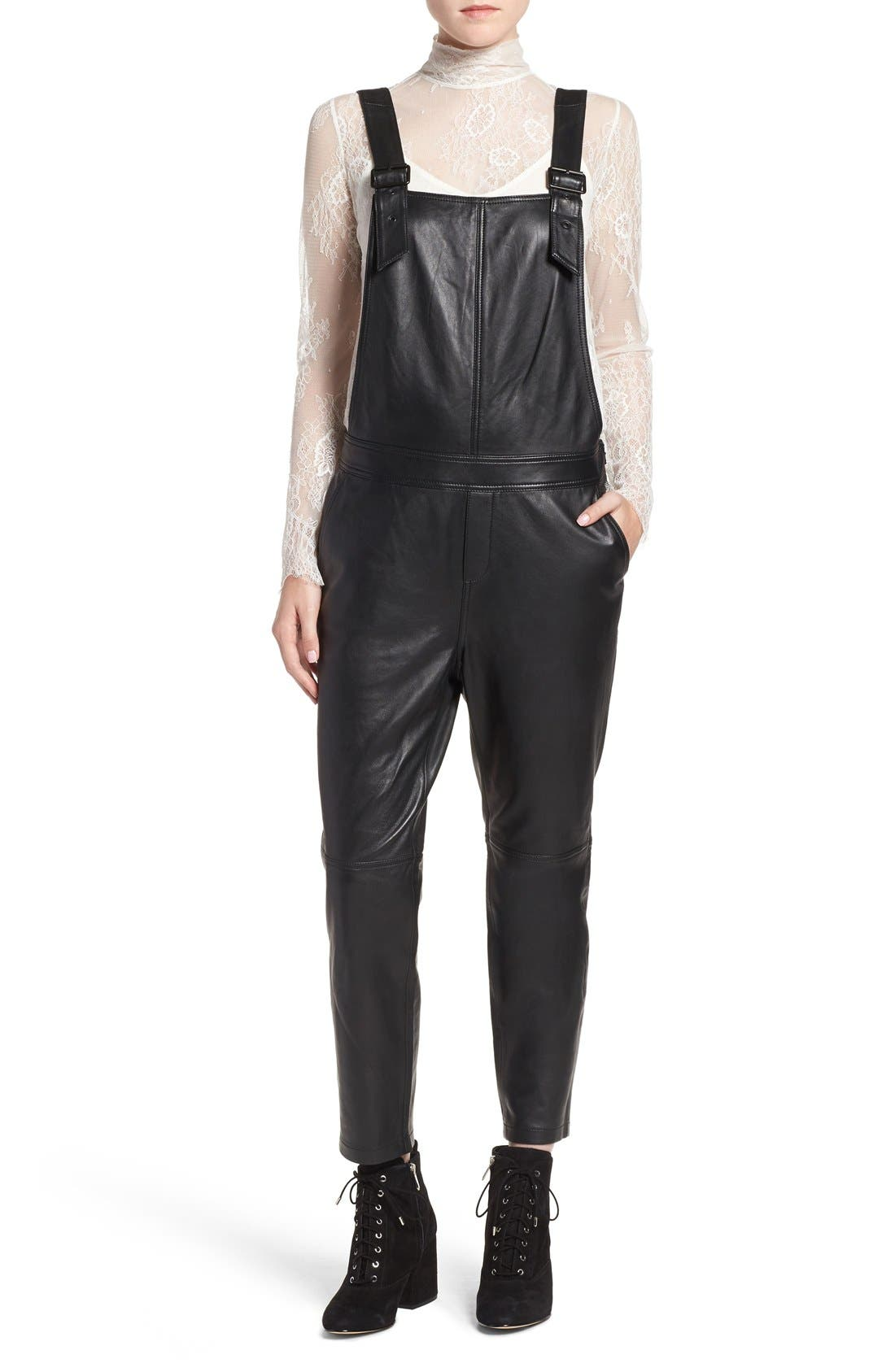 Main Image - Olivia Palermo + Chelsea28 Leather Overalls