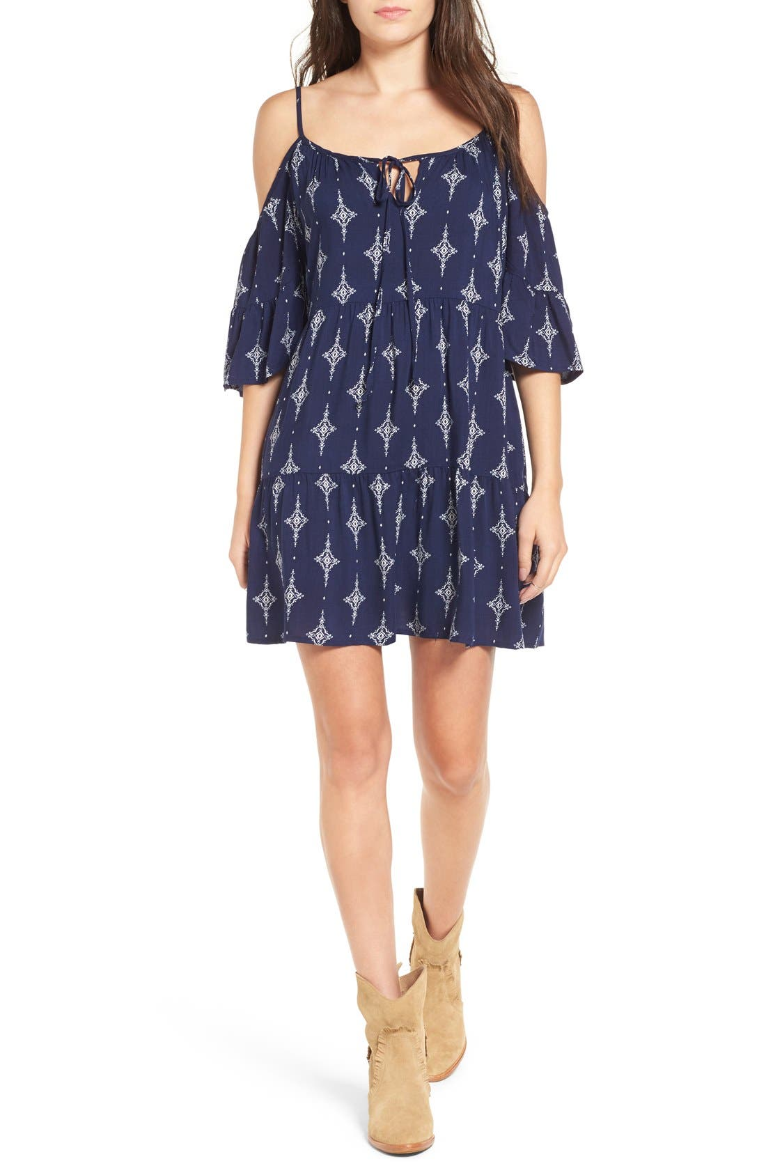 Alternate Image 1 Selected - Mimi Chica Print Cold Shoulder Trapeze Dress