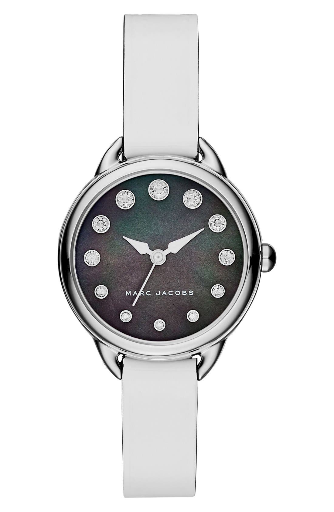 Main Image - MARC JACOBS Betty Leather Strap Watch, 28mm