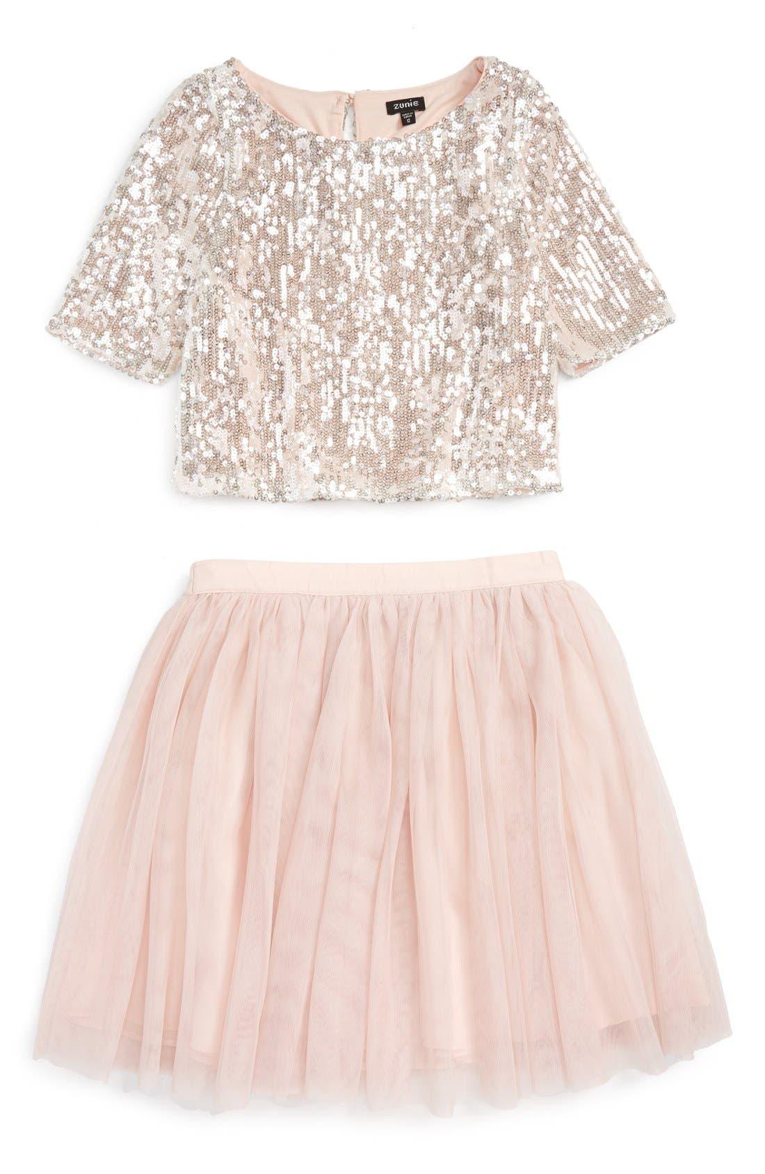 Main Image - Zunie Sequin 'Meet & Greet' Top & Tulle Skirt Set (Big Girls)