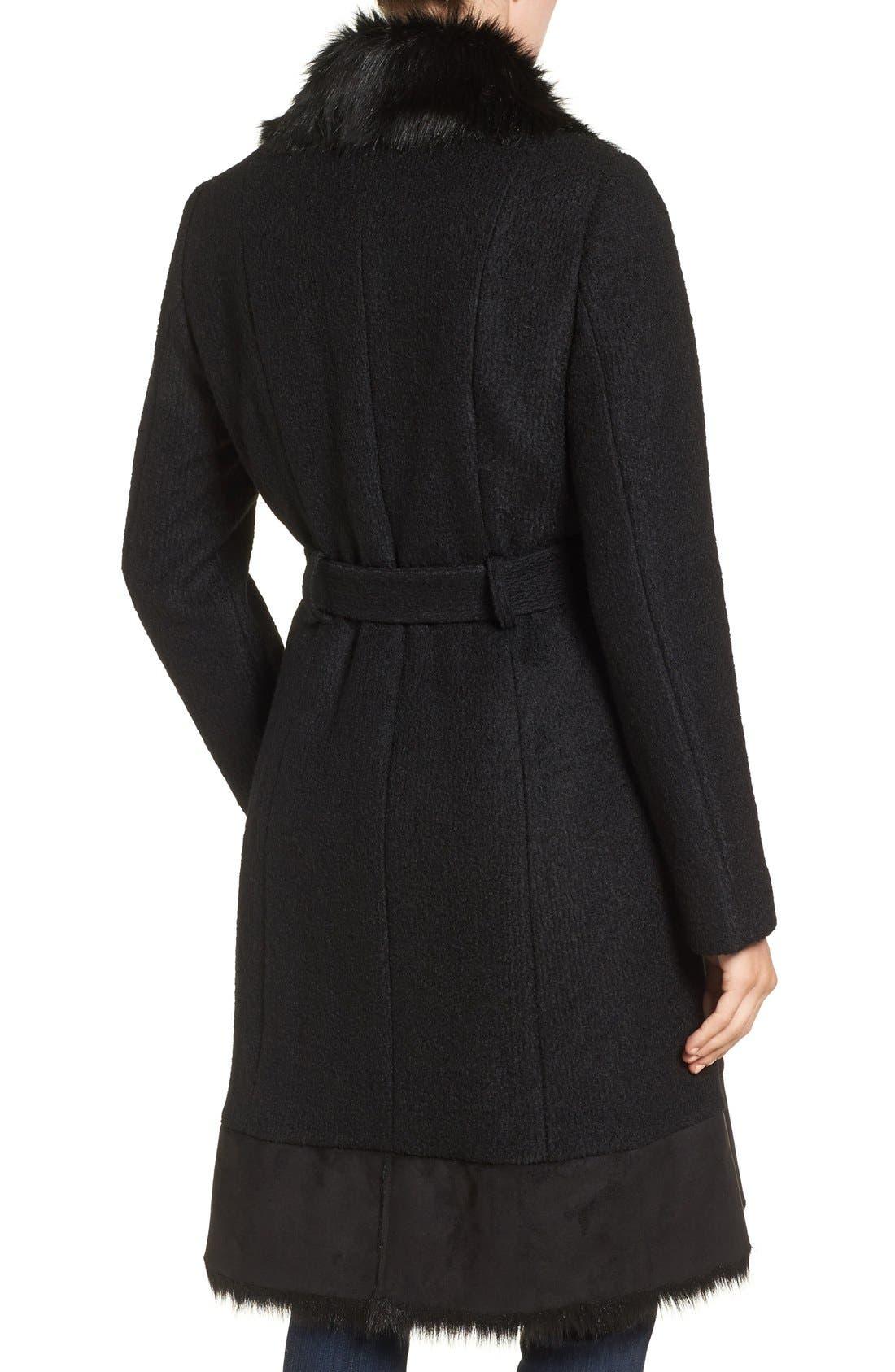 Alternate Image 2  - Vince Camuto Faux Shearling Trim Belted Wool Blend Long Coat