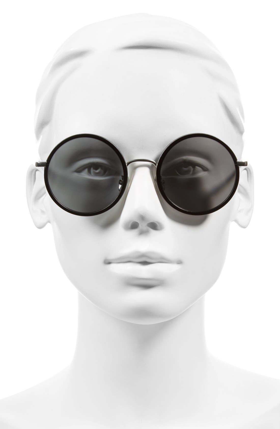 Alternate Image 2  - Linda Farrow 52mm Round 18 Karat White Gold Trim Sunglasses