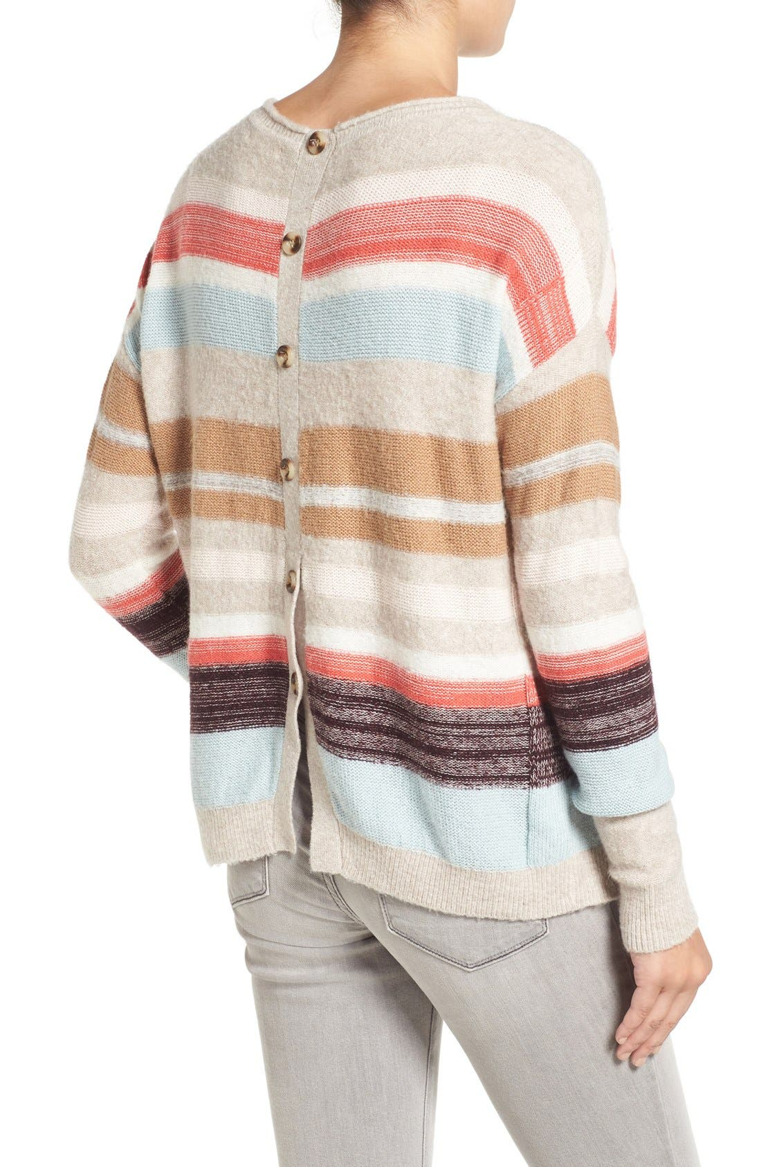Alternate Image 2  - Caslon® Back Button Stripe Knit Sweater (Regular & Petite)
