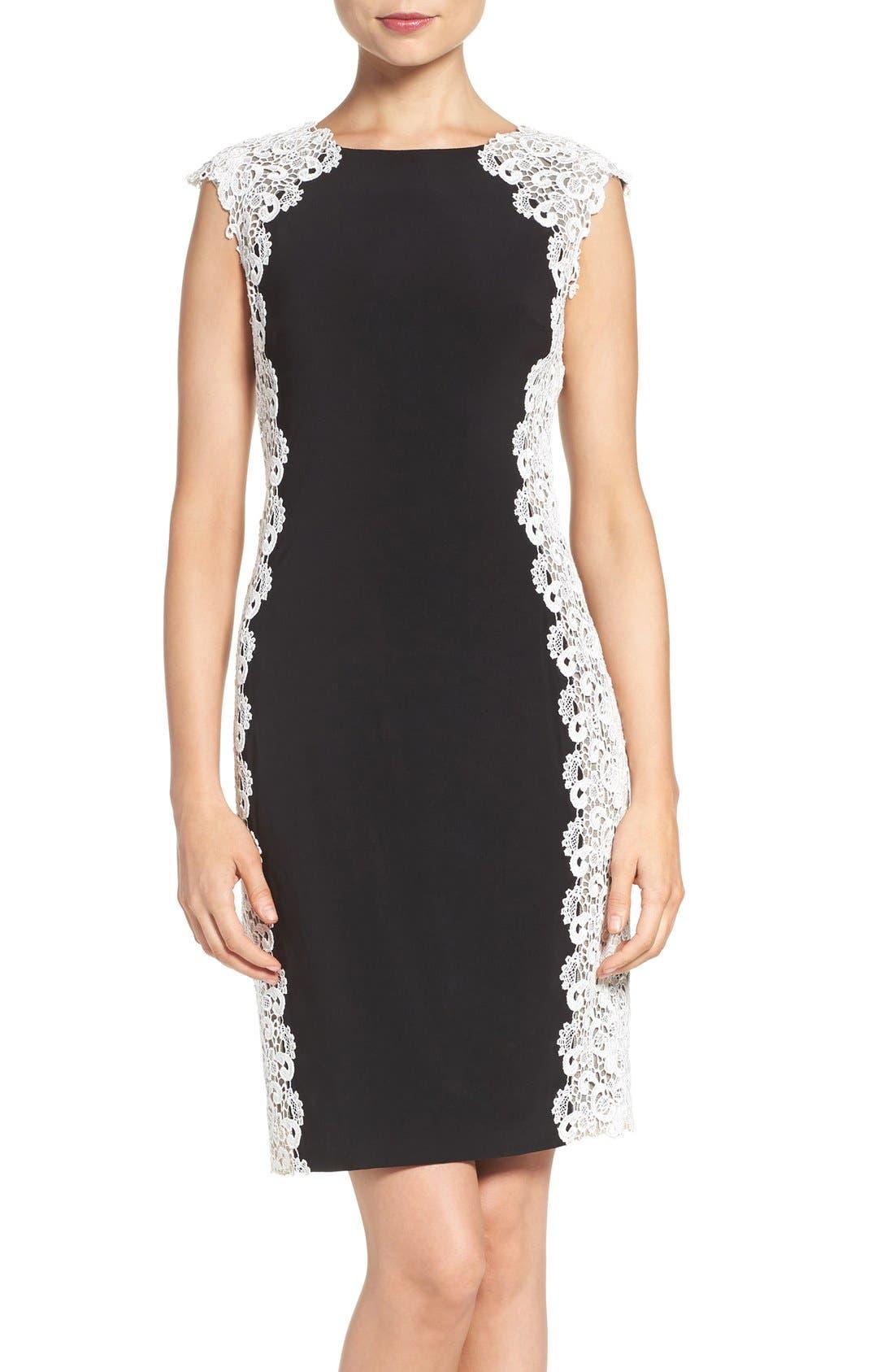 Xscape Lace & Knit Sheath Dress