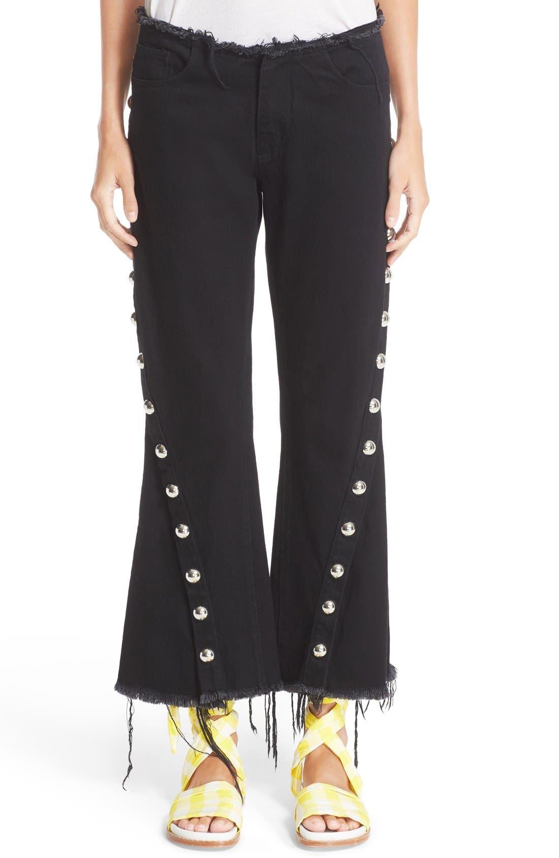 MARQUES'ALMEIDA Marques'Almeida Diagonal Button Frayed Capri Jeans