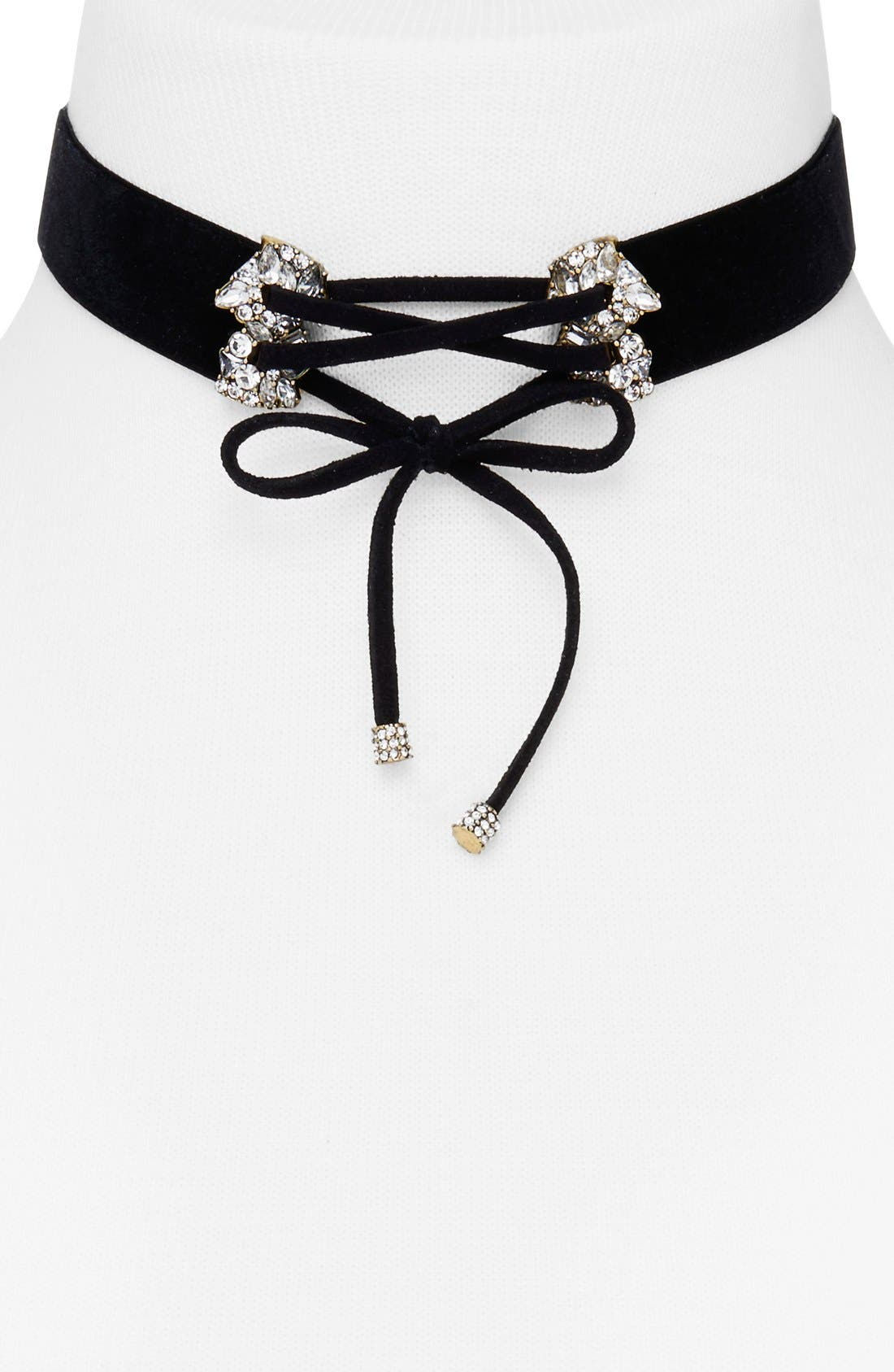 Alternate Image 1 Selected - BaubleBar 'Ottoline' Velvet & Crystal Choker