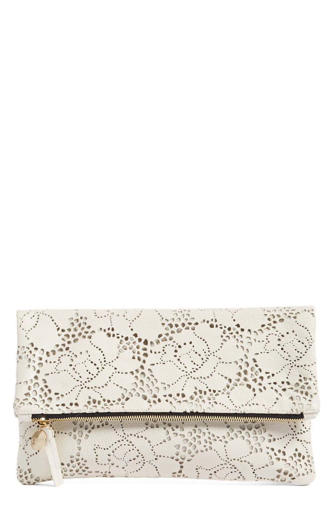 Main Image - Clare V. Leather Lace Foldover Clutch