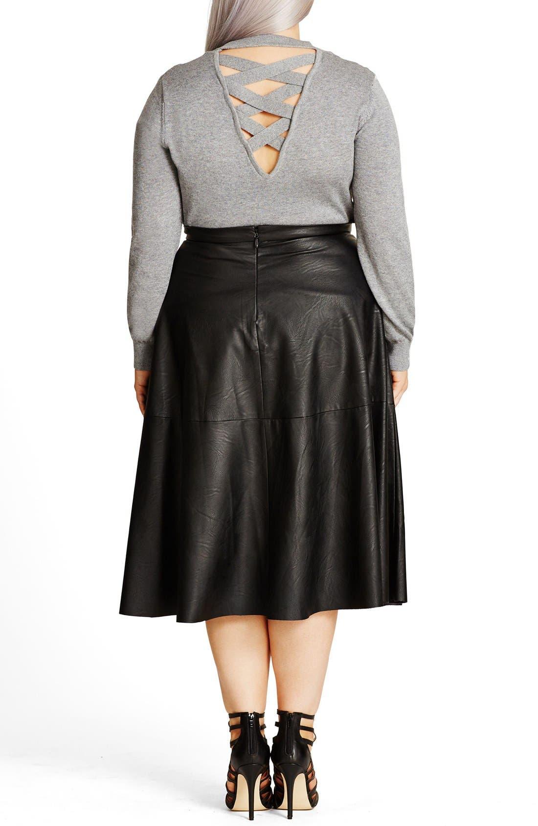 Alternate Image 2  - City Chic 'Flirt' Faux Leather Midi Skirt (Plus Size)