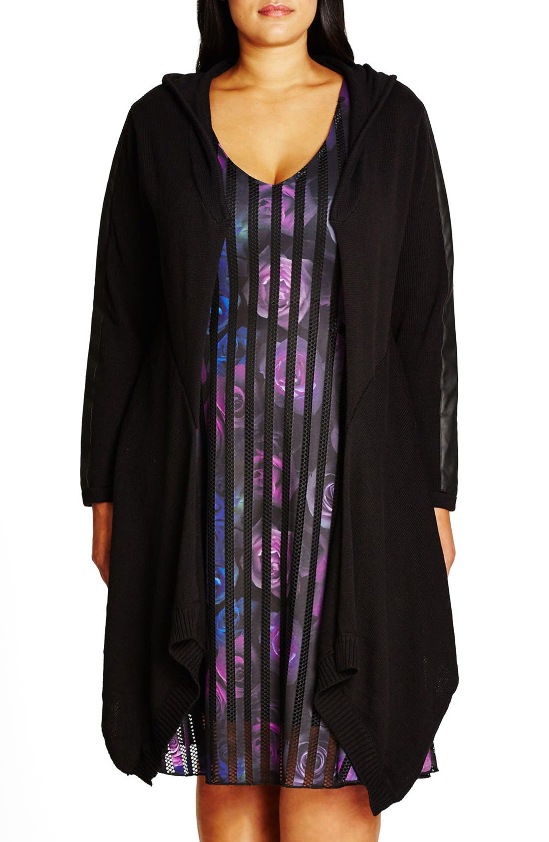 City Chic Faux Leather Trim Hooded Longline Cardigan (Plus Size)