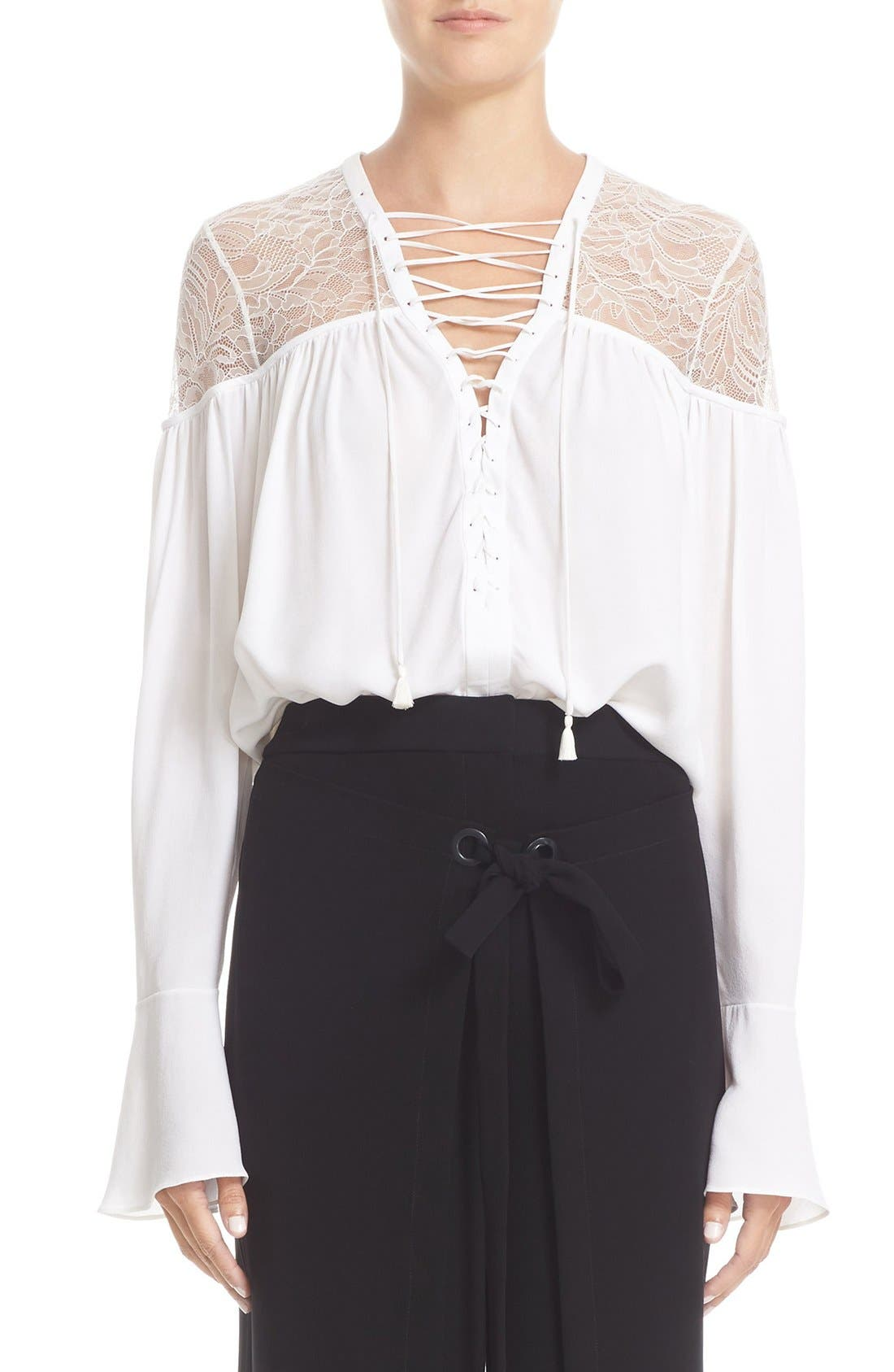 YIGAL AZROUËL Lace-Up Ruched Crepe Georgette Blouse