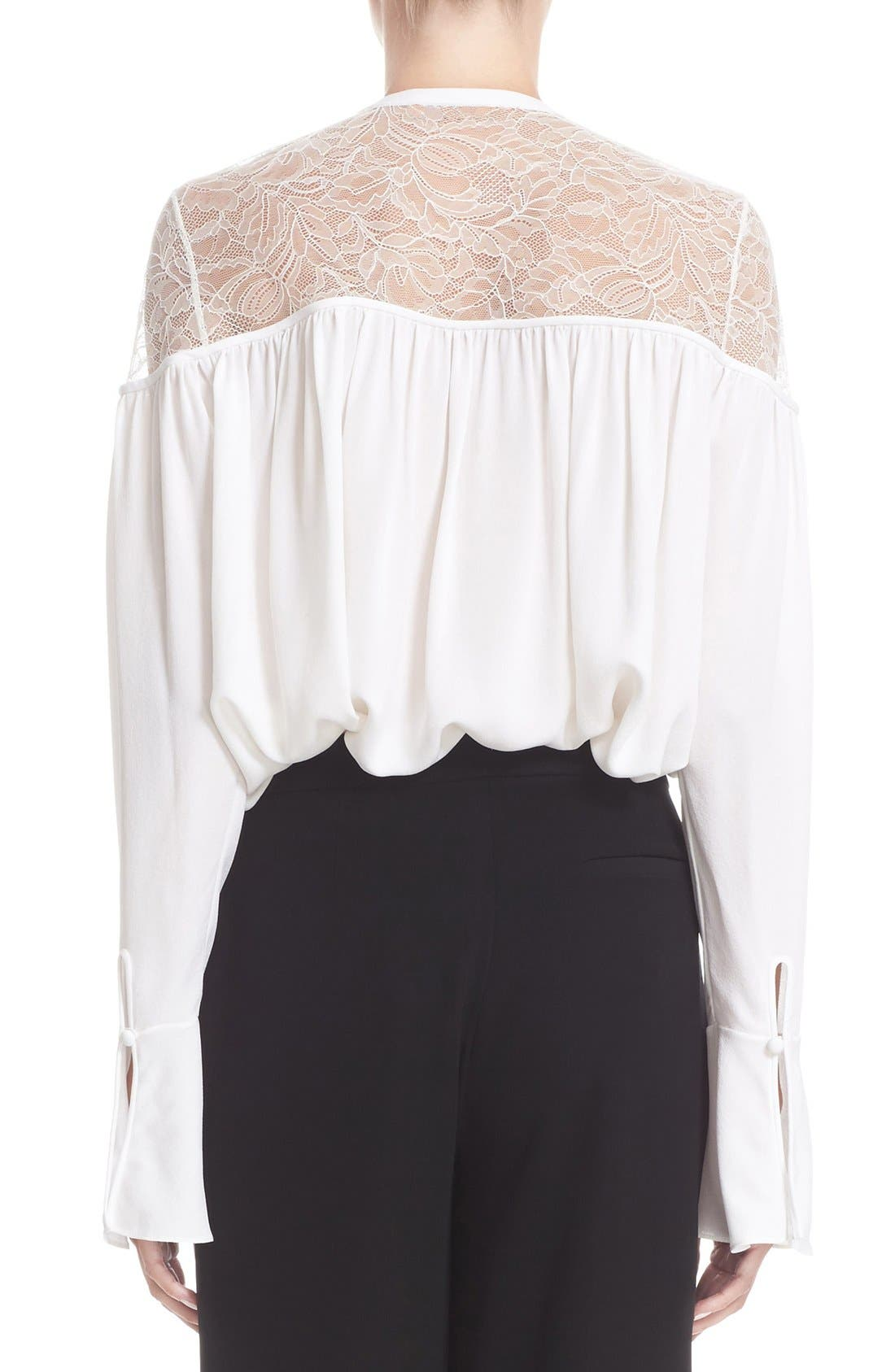 Alternate Image 2  - Yigal Azrouël Lace-Up Ruched Crepe Georgette Blouse